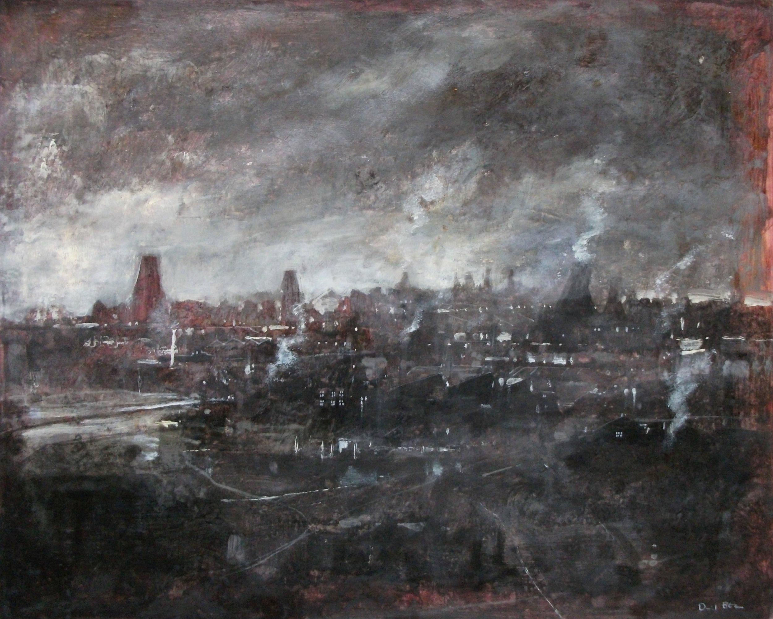 "'Stoke Scene II' ,  Code no. 2821   Acrylics & Mixed Media on Paper with Oil Glazing, 19"" x 23"""