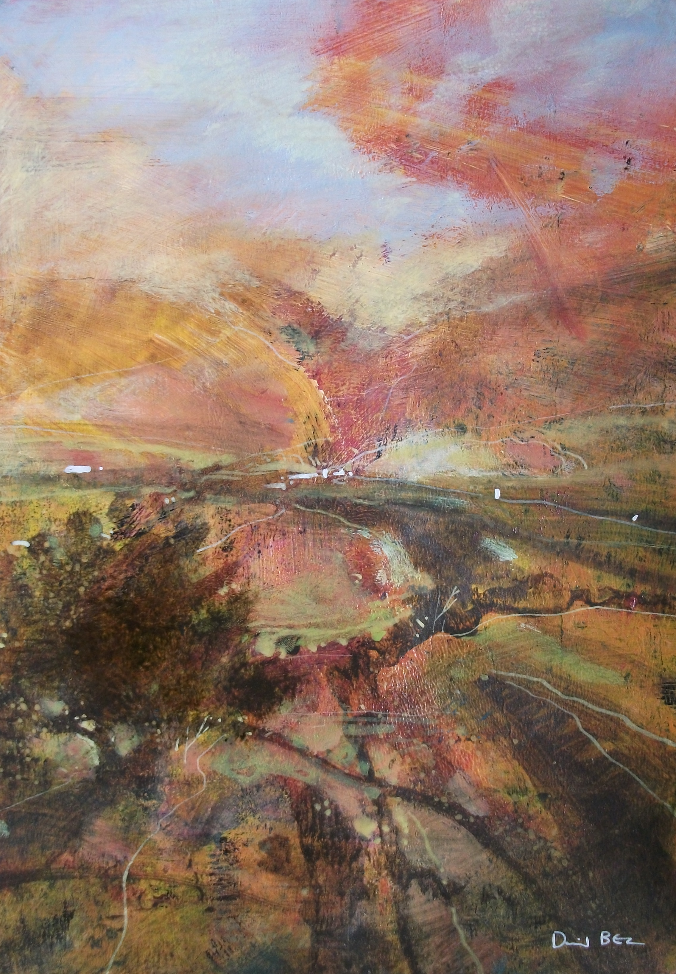 "'Cumbria' ,  Code no. L430   Acrylics & Mixed Media on Paper with Oil Glazing, 12"" x8"""