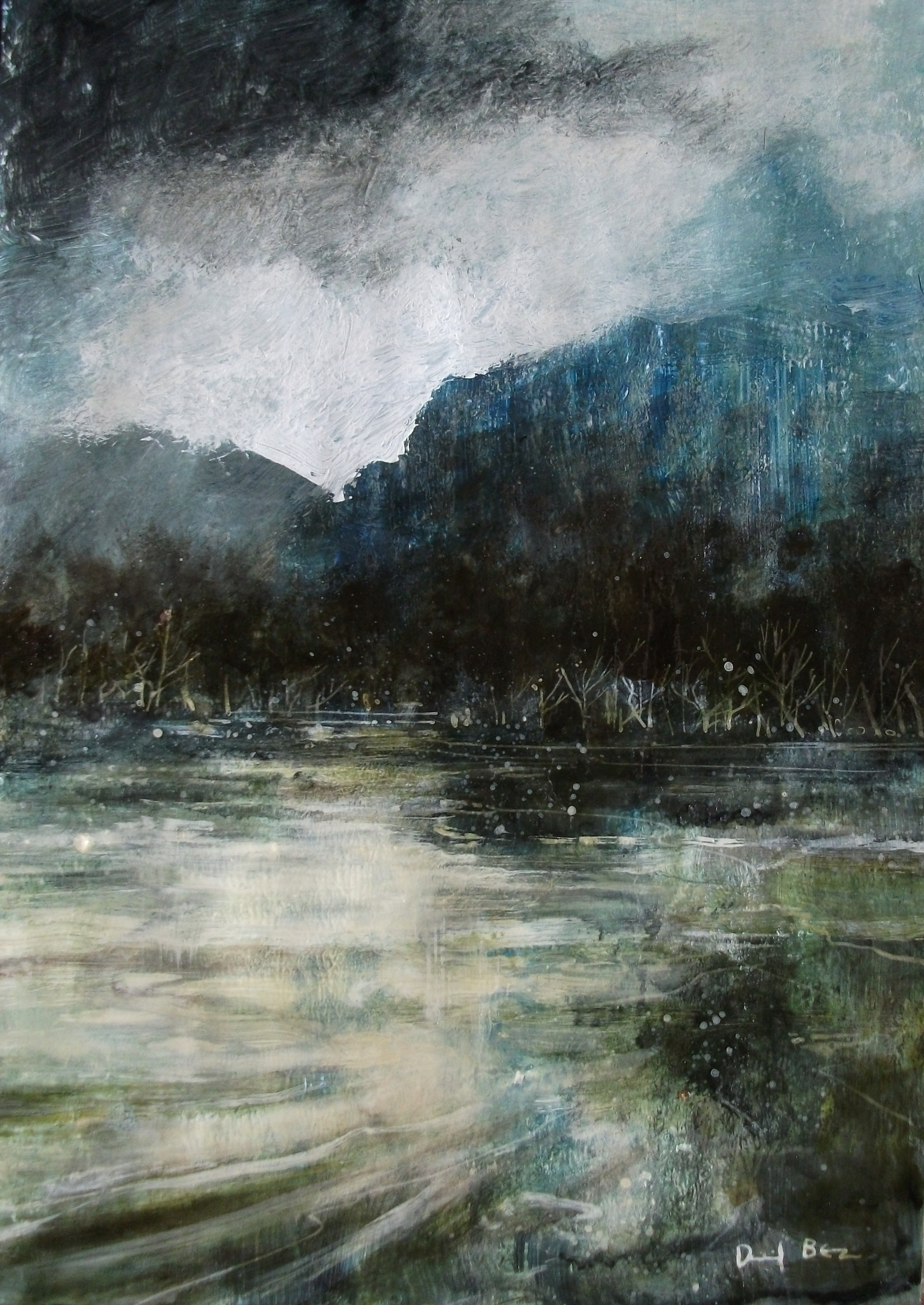 """'Lake District' ,  Code no. L441   Acrylics & Mixed Media on Paper with Oil Glazing, 12"""" x 8"""""""