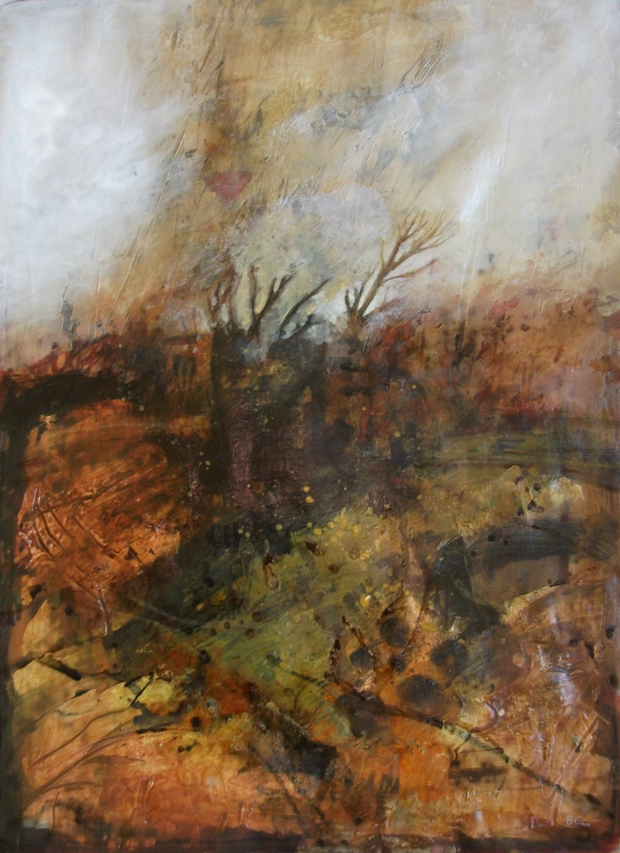 """'Saddleworth' ,  Code no. L907   Acrylics & Mixed Media on Paper with Oil Glazing, 18"""" x 15"""""""