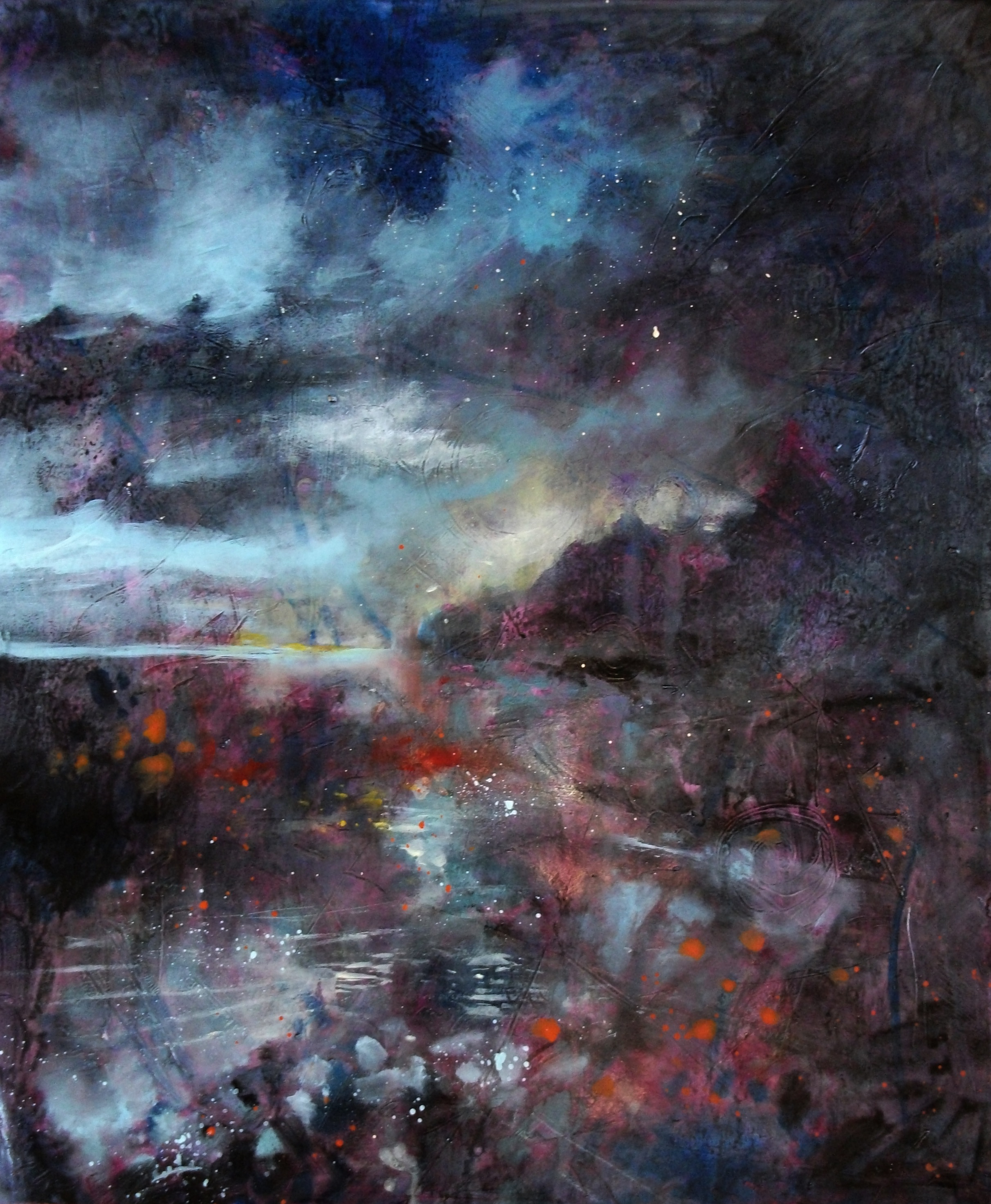 "'Dark Cumbria' ,  Code no. L919   Acrylics & Mixed Media on Paper with Oil Glazing, 20"" x 16"""
