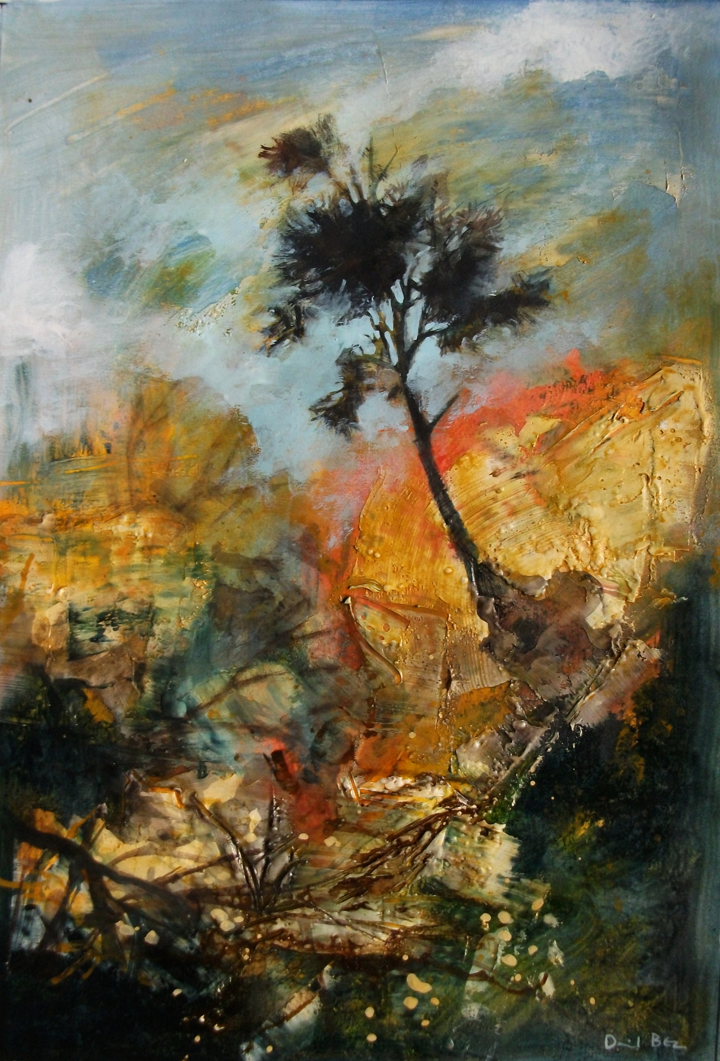 """'Pine Tree' ,  Code no. L920   Acrylics & Mixed Media on Paper with Oil Glazing, 18"""" x 12"""""""