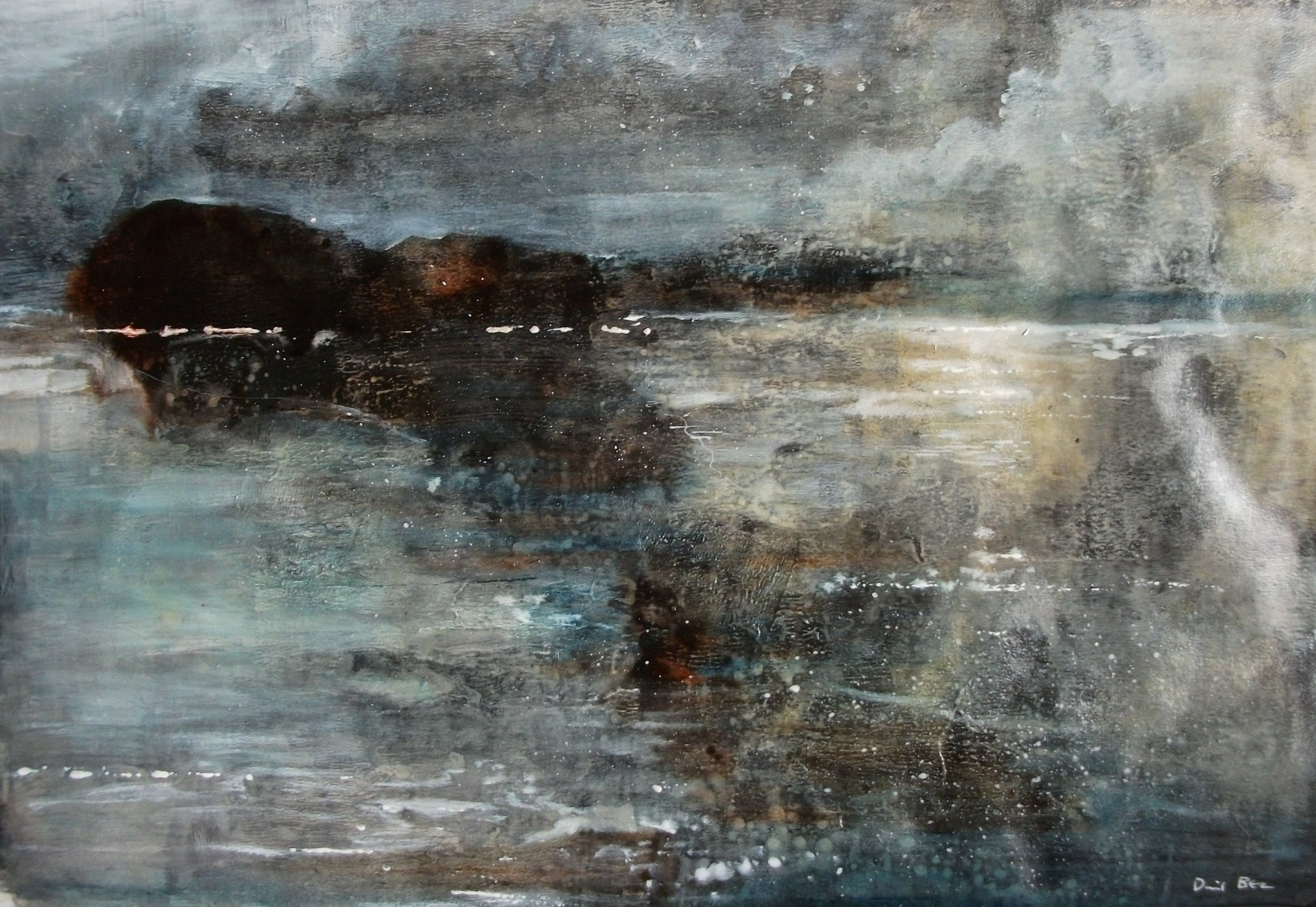 """'Fylde Coast Nocturne' ,  Code no. L320   Acrylics & Mixed Media on Paper with Oil Glazing, 12"""" x 18"""""""