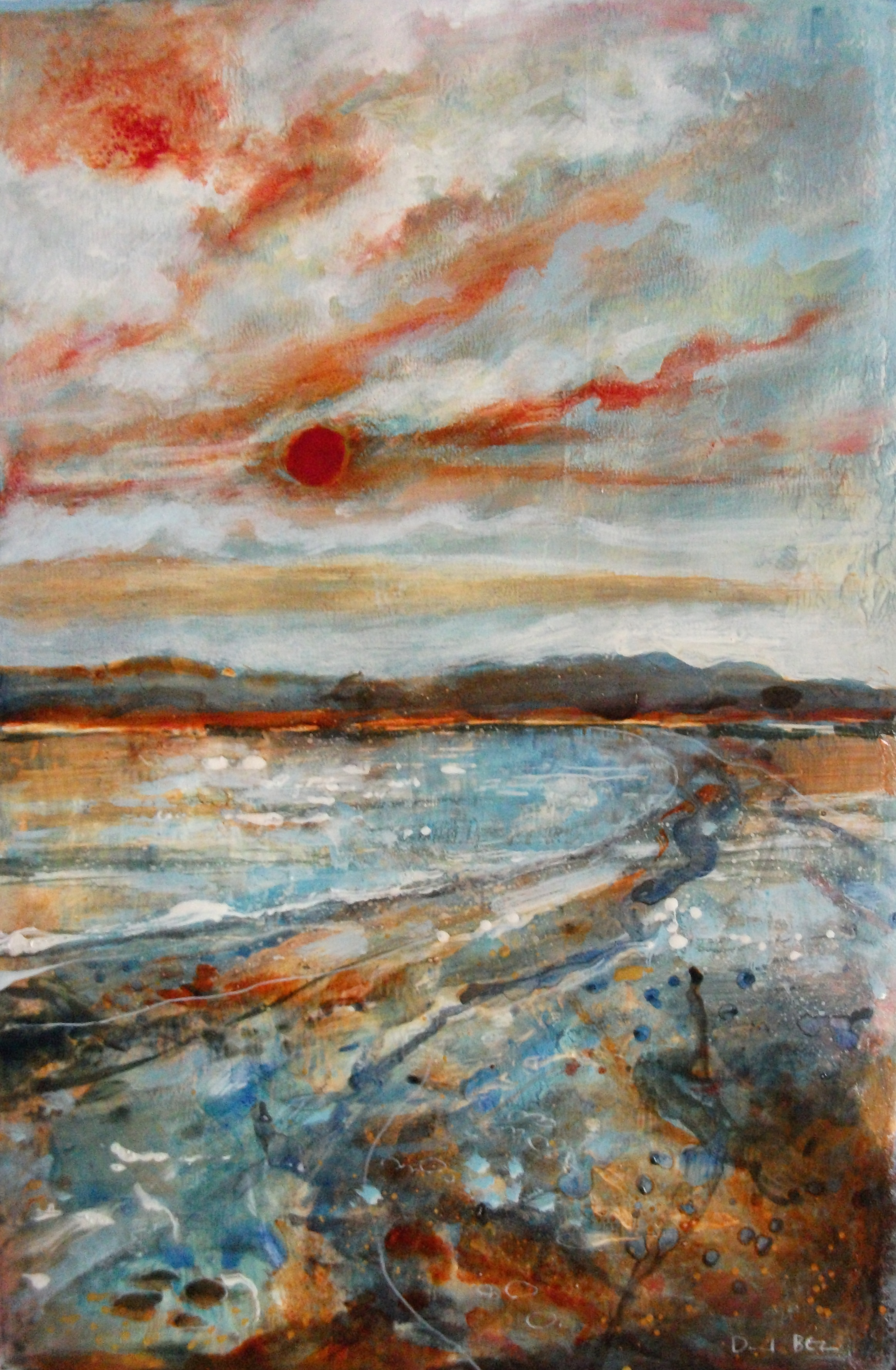 "'Sea/Coast' ,  Code no. L776   Acrylics & Mixed Media on Paper with Oil Glazing, 18"" x 12"""