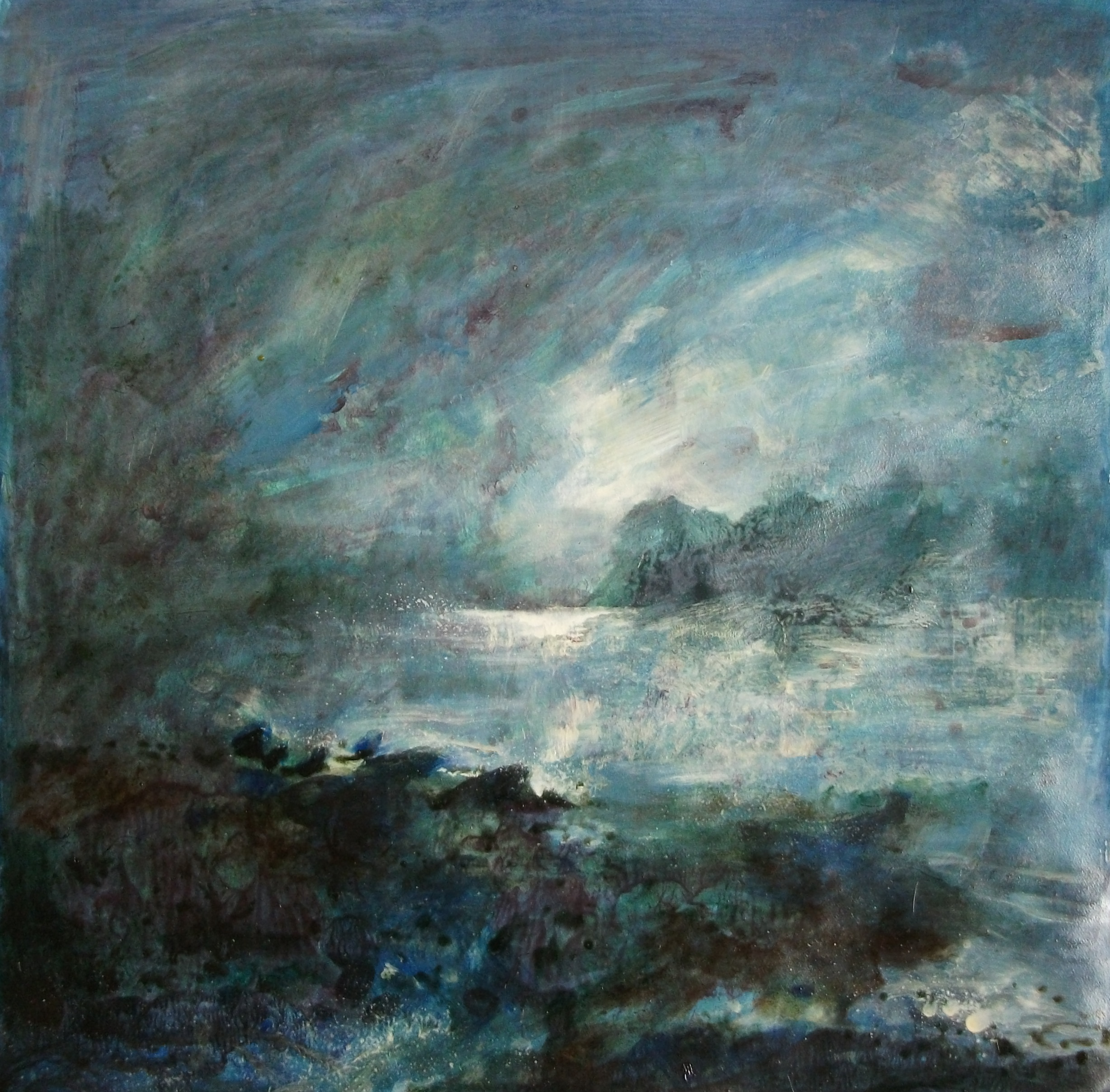 """'Seascape I' ,  Code no. L816   Acrylics & Mixed Media on Paper with Oil Glazing, 19"""" x 18"""""""