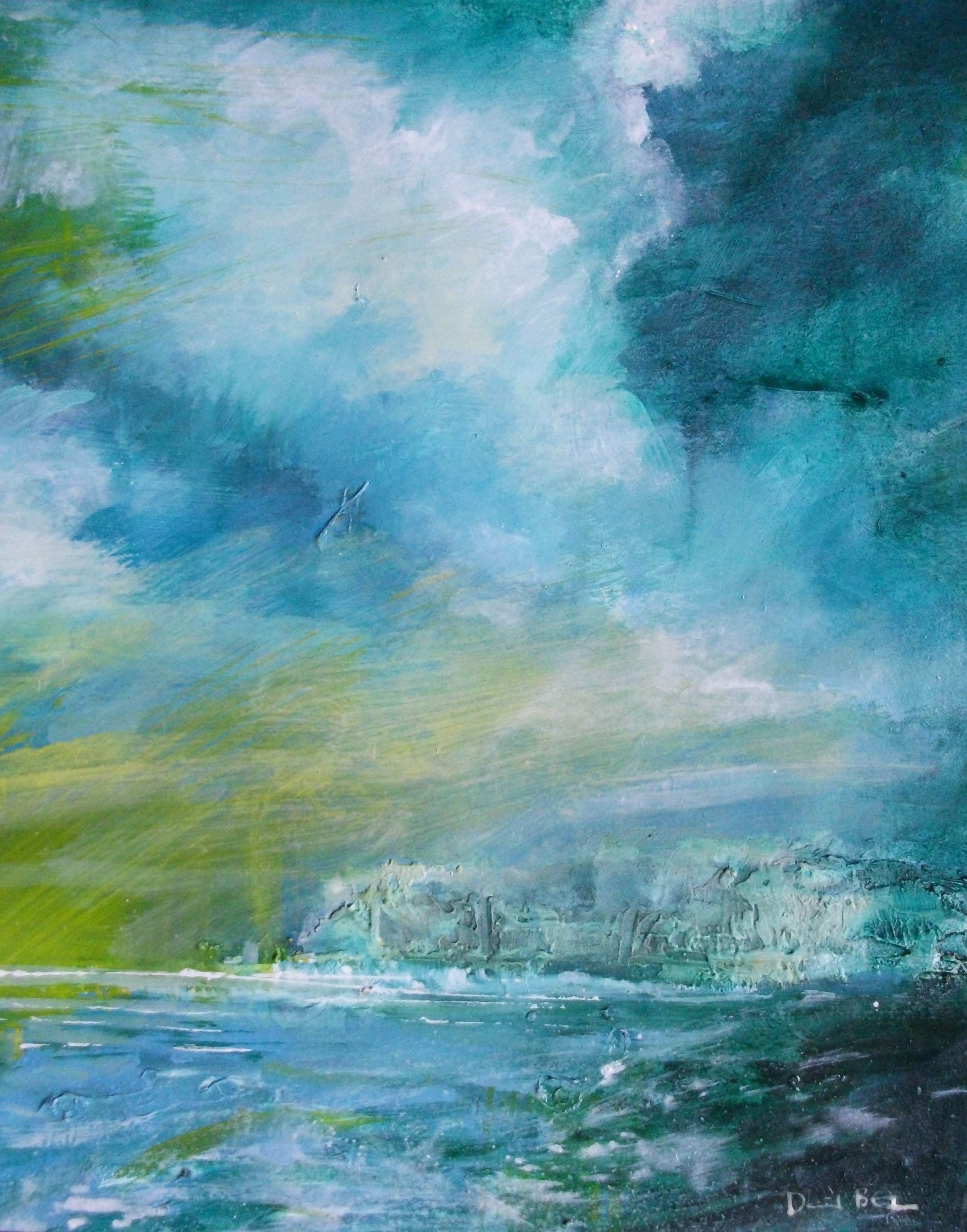 """'Seascape II' ,  Code no. L823   Acrylics & Mixed Media on Paper with Oil Glazing, 12"""" x 10"""""""