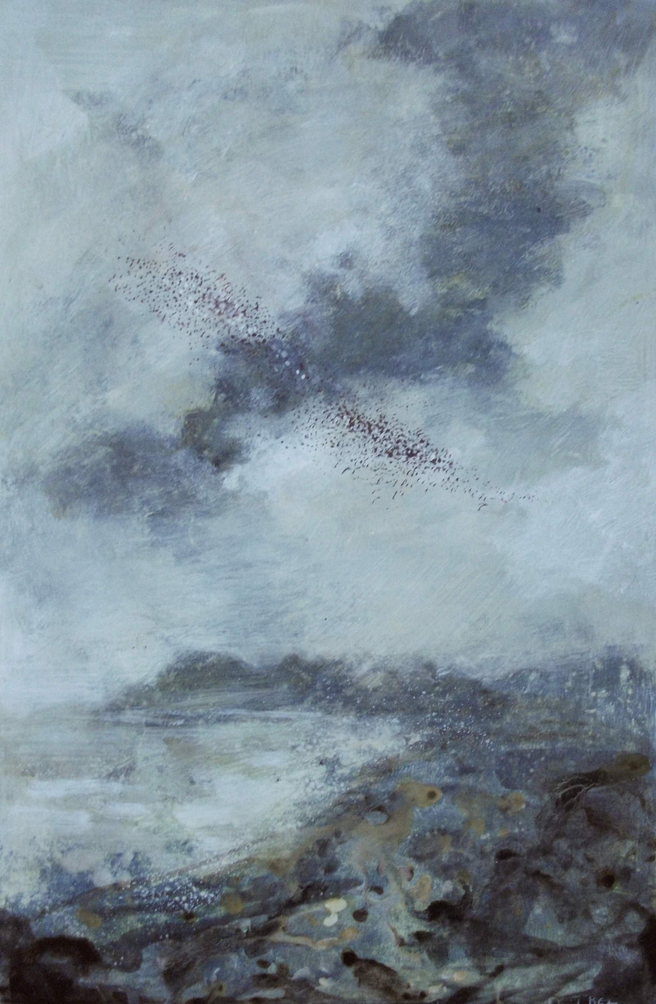 """'Murmuration' ,  Code no. L870   Acrylics & Mixed Media on Paper with Oil Glazing, 18"""" x 12"""""""