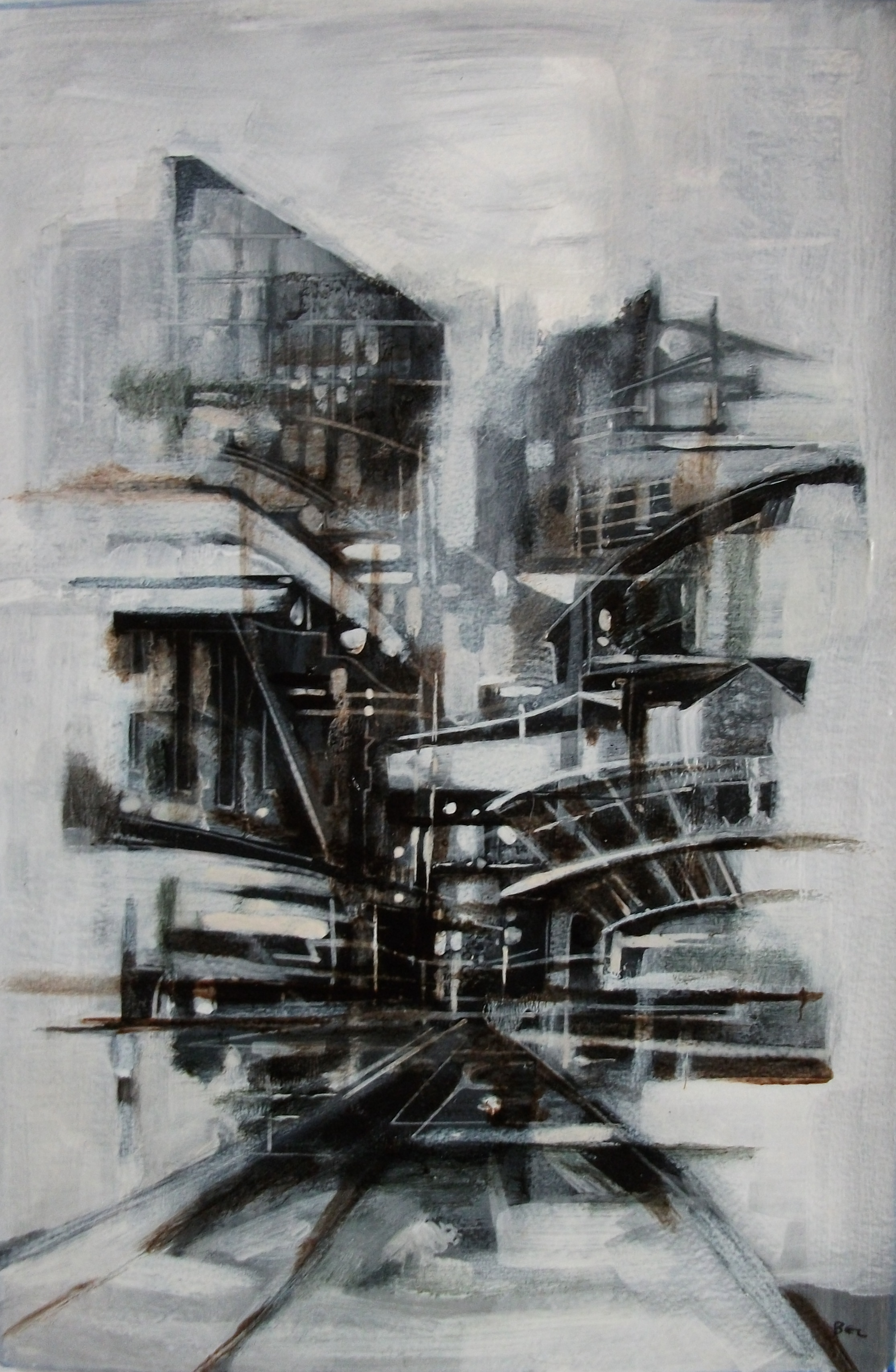 """'Cityscape V' ,  Code no. 2677   Acrylics & Mixed Media on Paper with Oil Glazing, 18"""" x 12"""""""