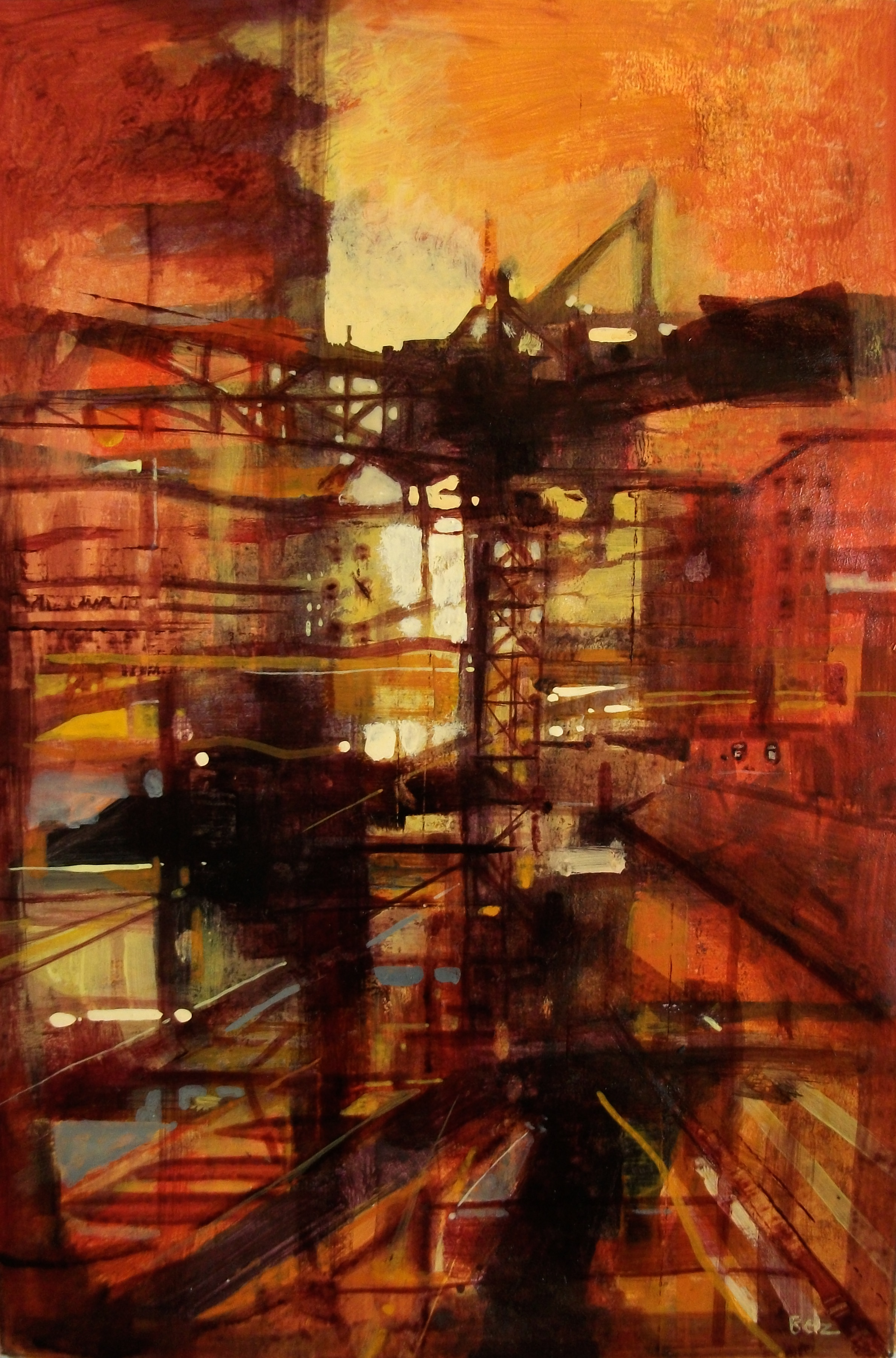 """'Cityscape VII' ,  Code no. 2912   Acrylics & Mixed Media on Paper with Oil Glazing, 18"""" x 12"""""""
