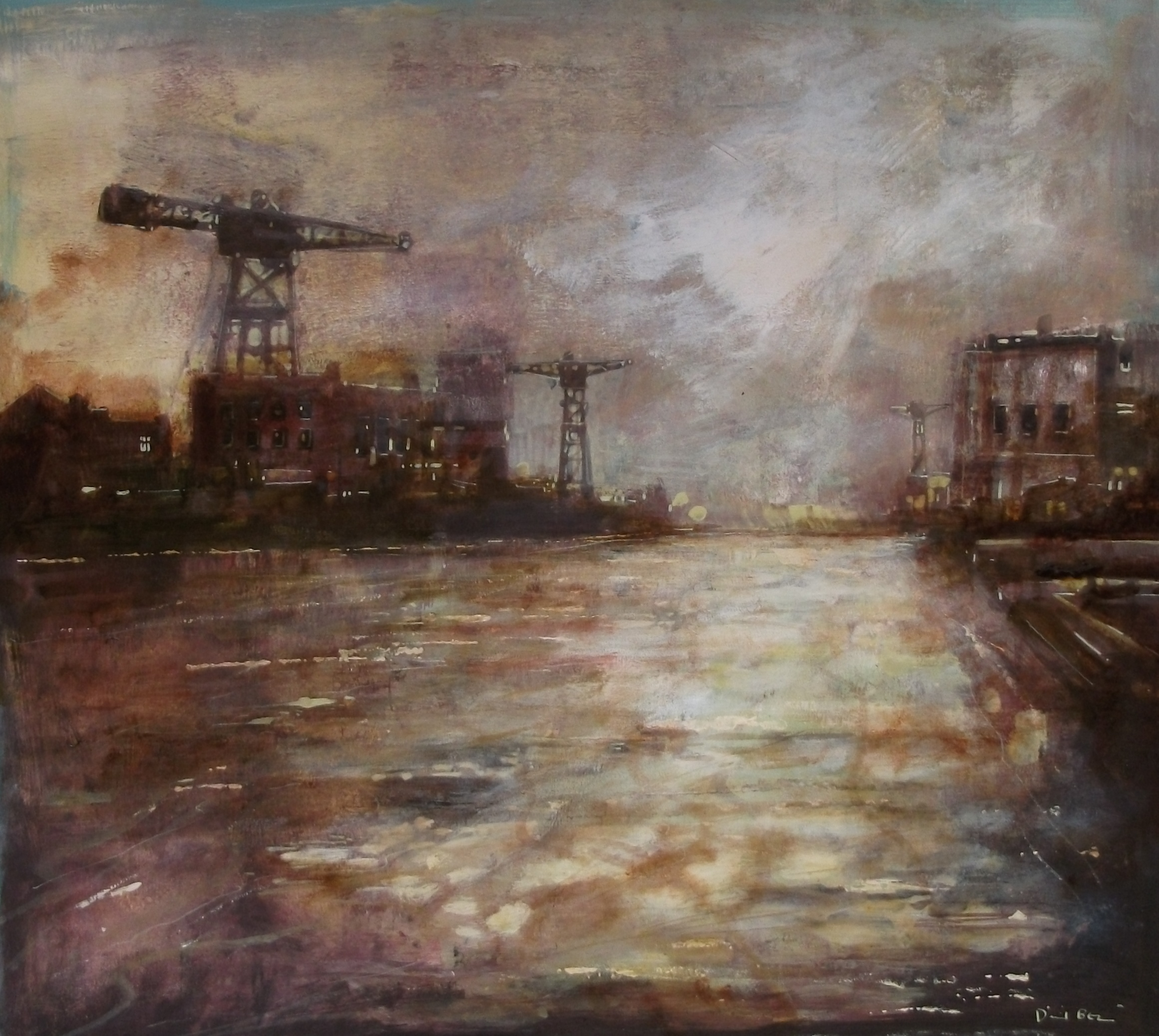 """'View of the Docks' ,  Code no. 2461   Acrylics & Mixed Media on Paper with Oil Glazing, 19"""" x 21"""""""