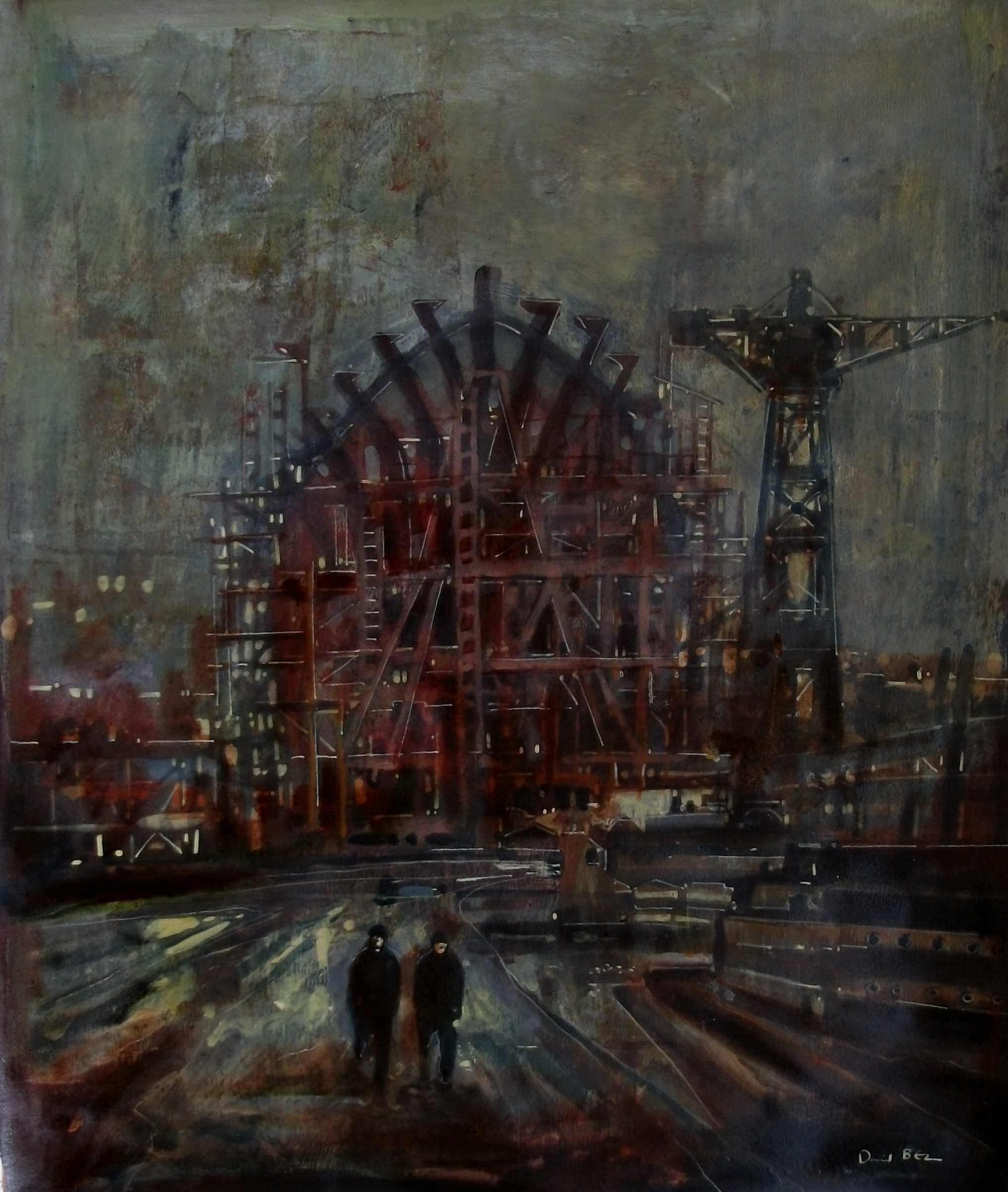 """'Shipbuilding I' ,  Code no. 2462   Acrylics & Mixed Media on Paper with Oil Glazing, 19"""" x 16"""""""