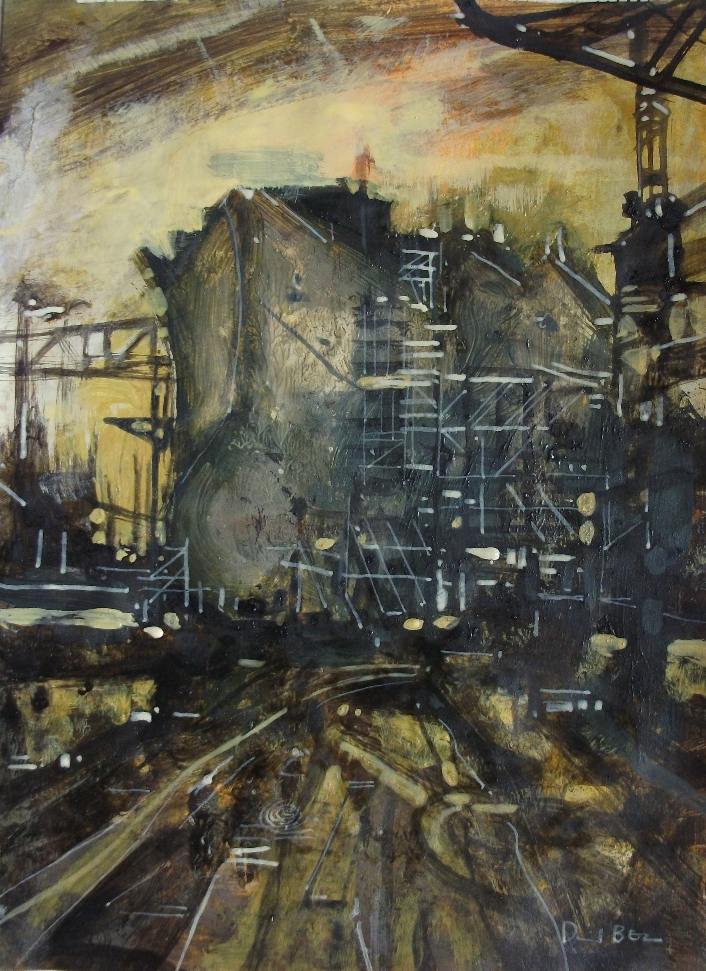 """'Shipbuilding II' ,  Code no. 2807   Acrylics & Mixed Media on Paper with Oil Glazing, 11"""" x 8"""""""