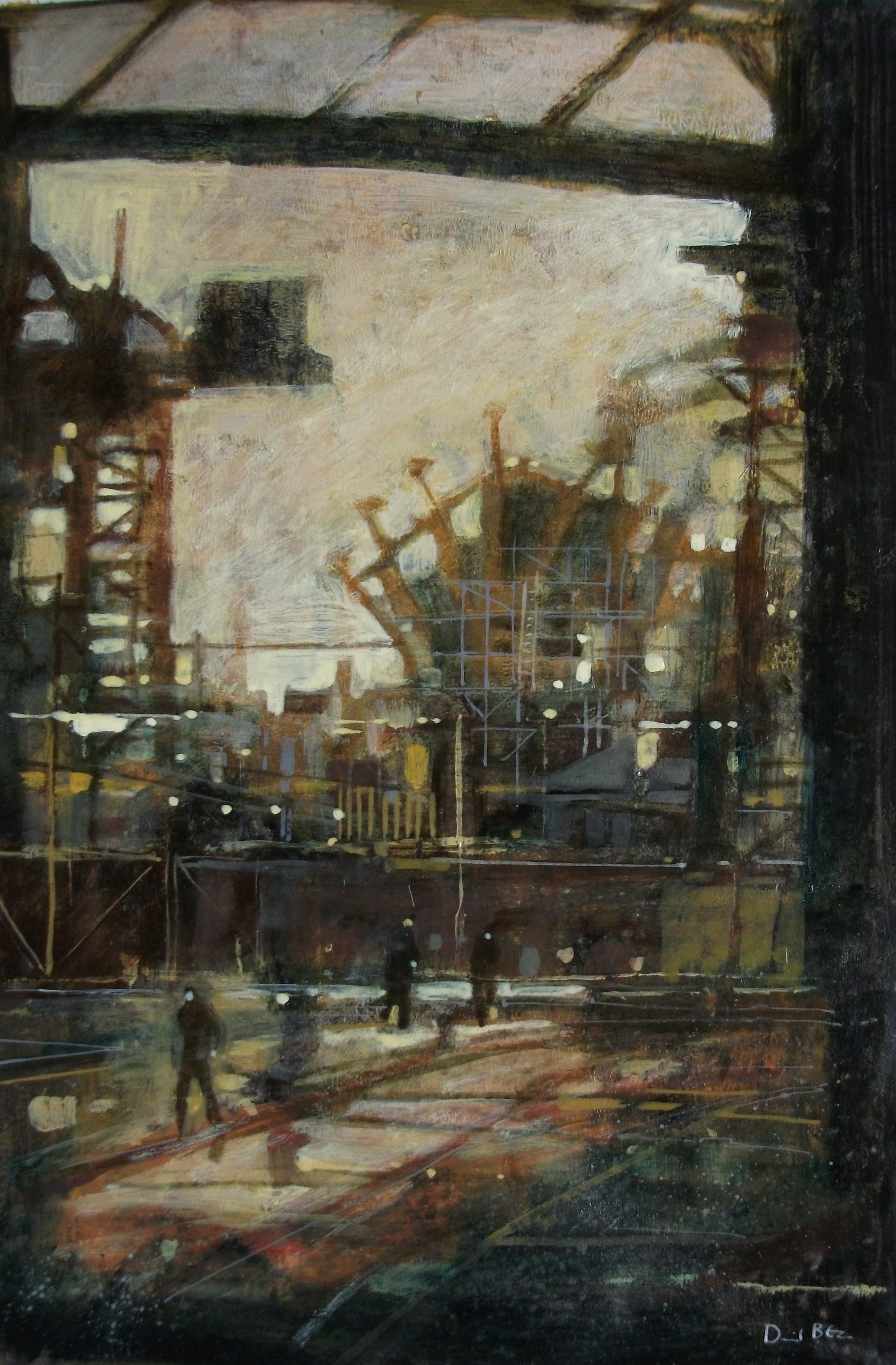"""'Shipbuilding III' ,  Code no. 2868   Acrylics & Mixed Media on Paper with Oil Glazing, 18"""" x 12"""""""