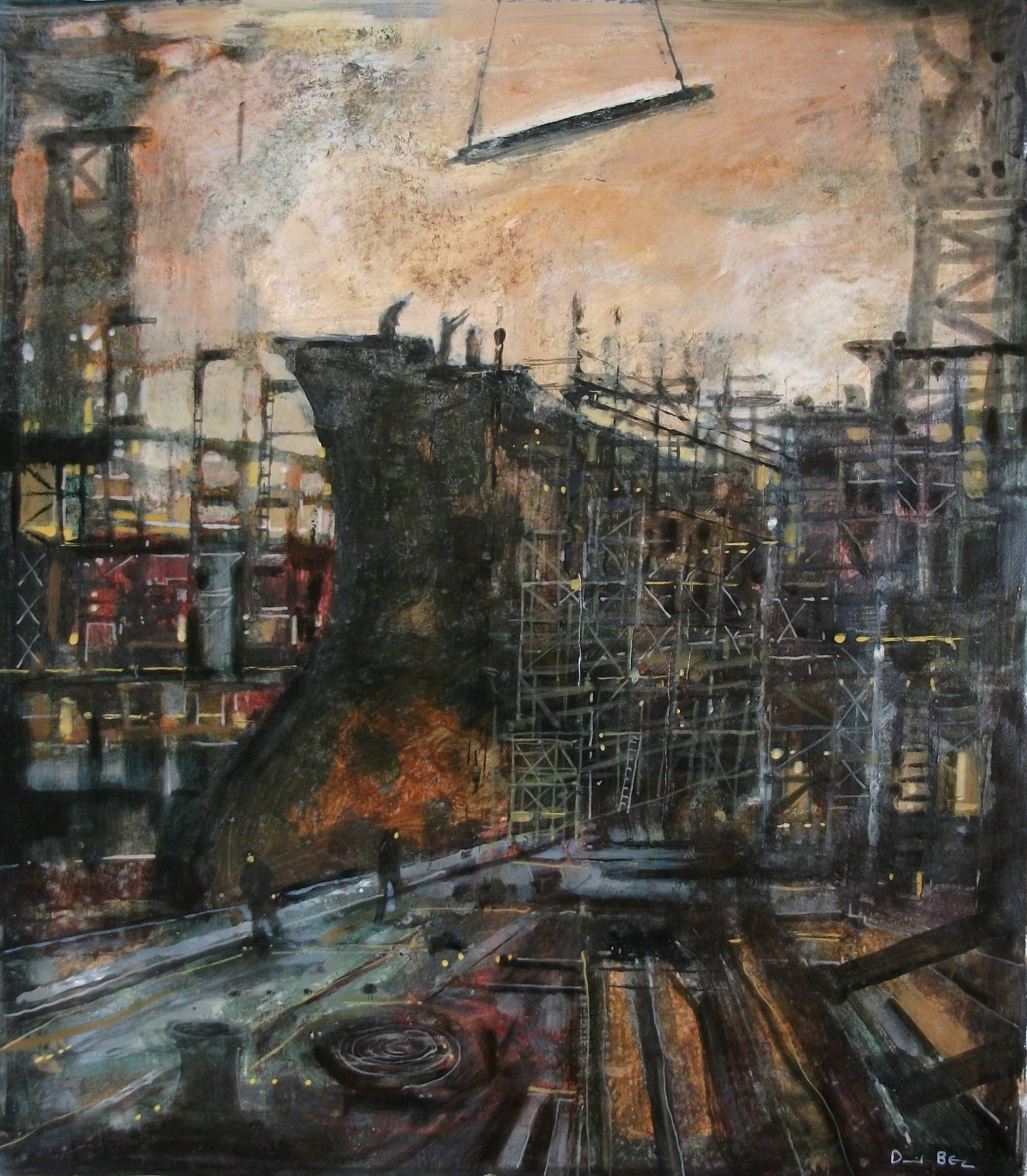 """'Shipbuilding V' ,  Code no. 2909   Acrylics & Mixed Media on Paper with Oil Glazing, 19"""" x 17"""""""