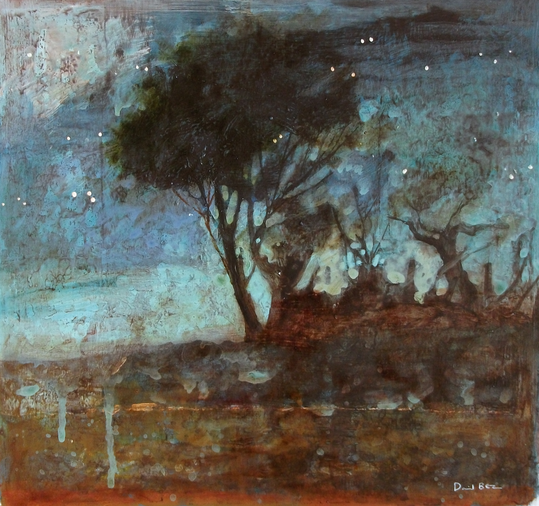 """'Trees at Dusk' ,  Code no. L105   Acrylics & Mixed Media on Paper with Oil Glazing, 13"""" x 14"""""""