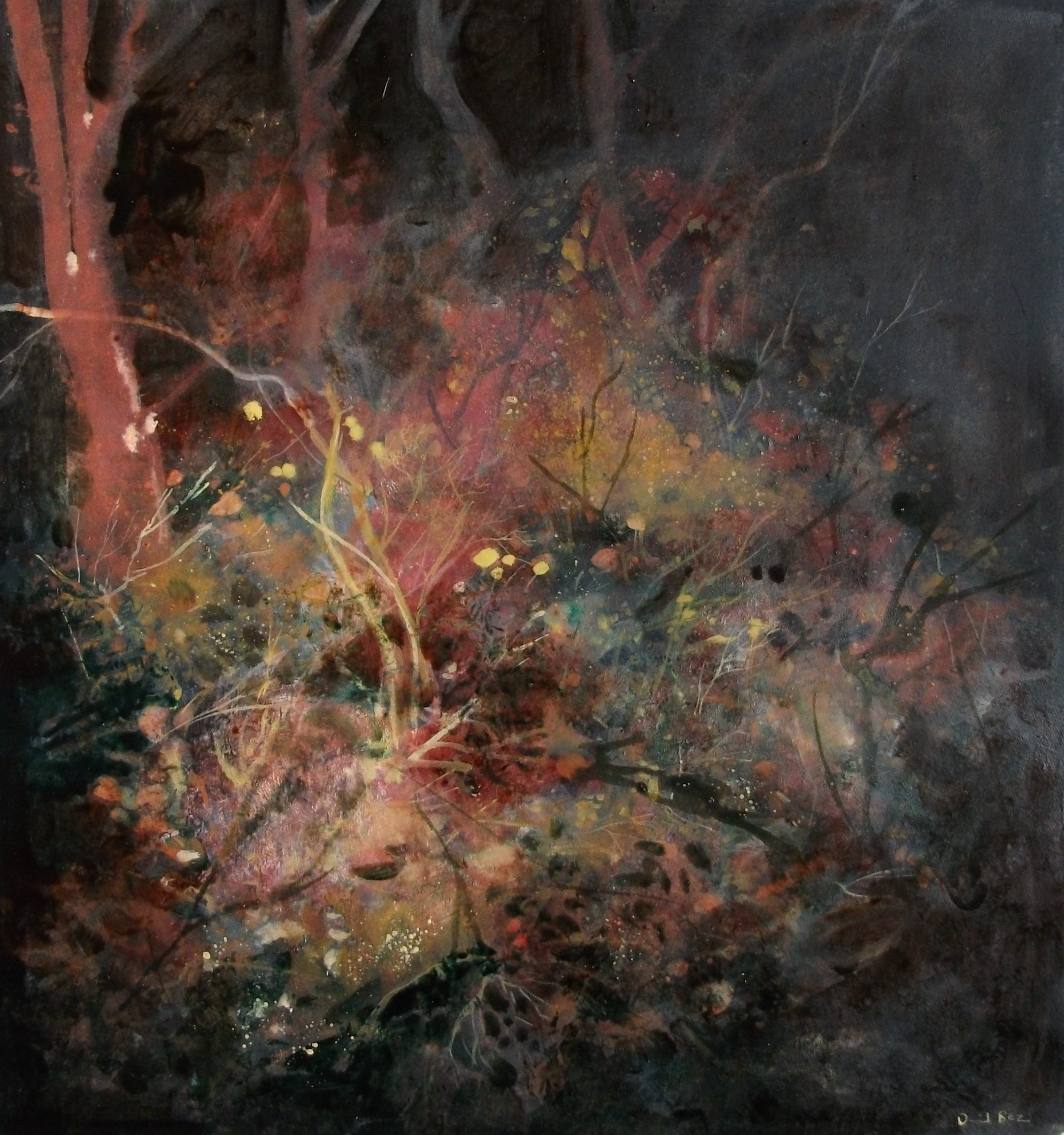 """'Woodland' ,  Code no. L824   Acrylics & Mixed Media on Paper with Oil Glazing, 18"""" x 17"""""""