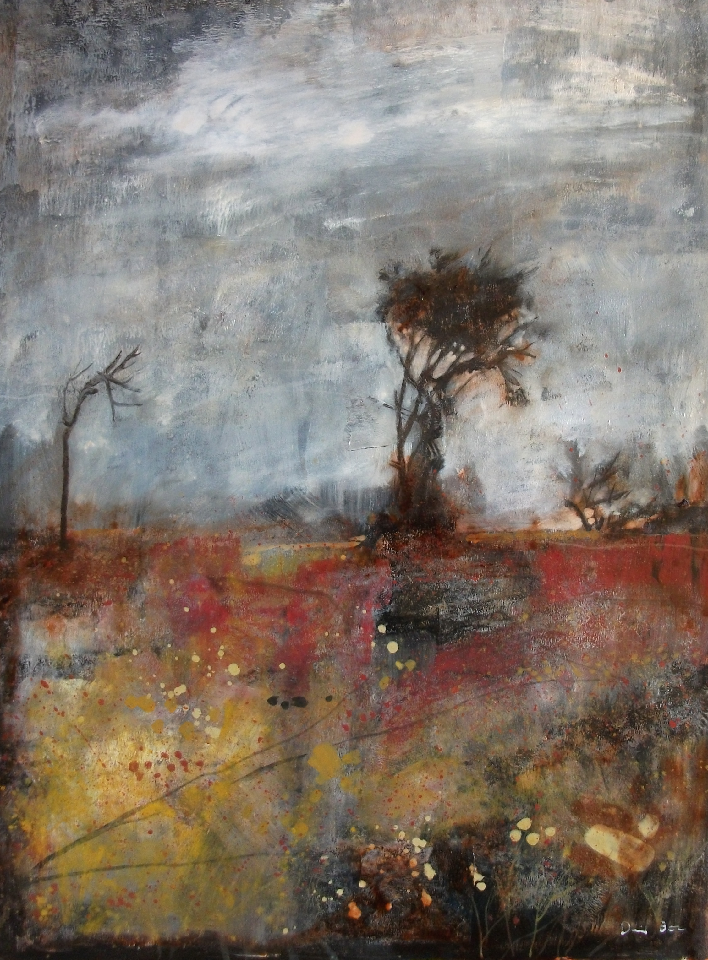 """'Battlefield' ,  Code no. L329   Acrylics & Mixed Media on Paper with Oil Glazing, 18"""" x 14"""""""