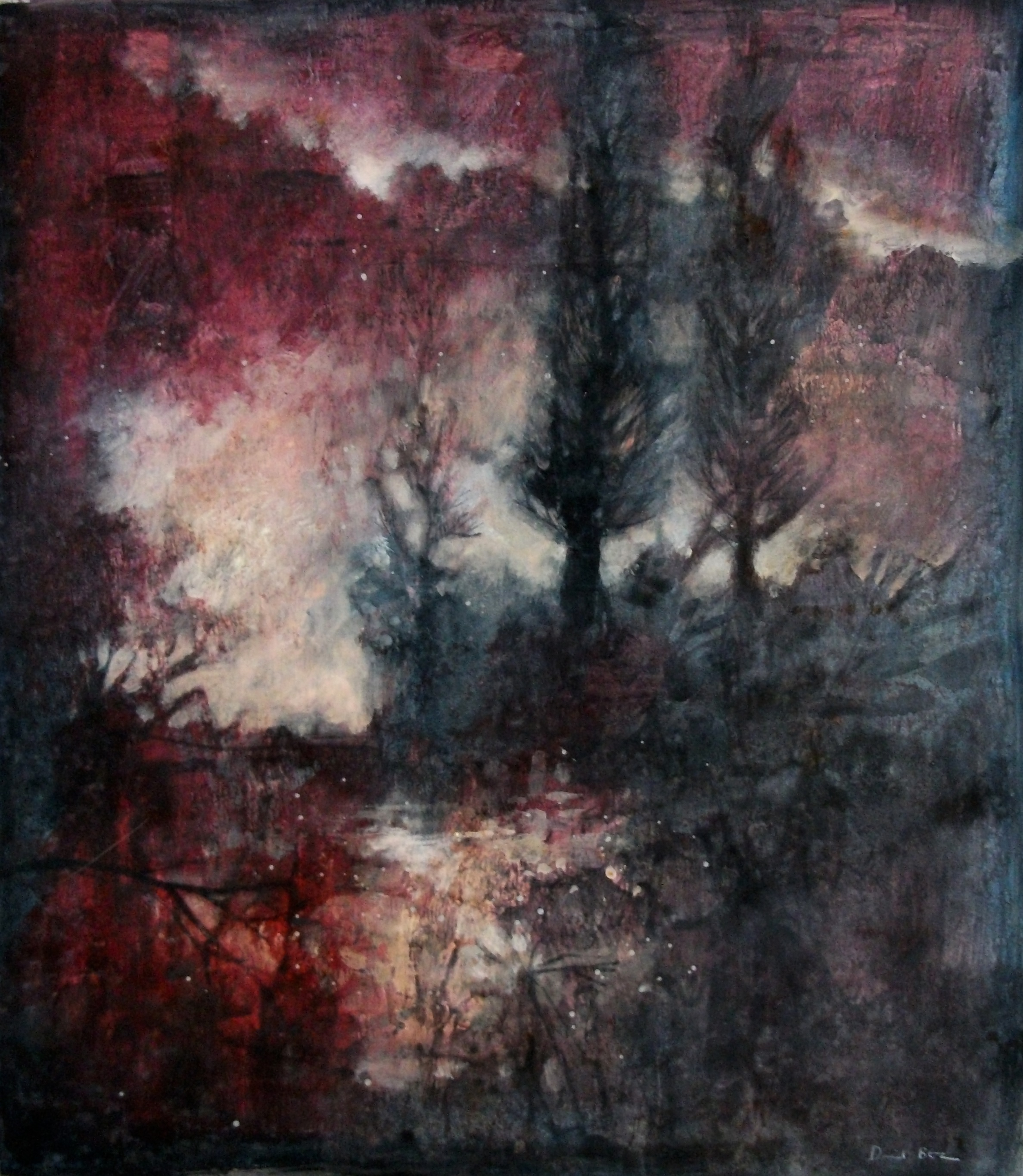 """'Poplars' ,  Code no. L768   Acrylics & Mixed Media on Paper with Oil Glazing, 19"""" x 16"""""""