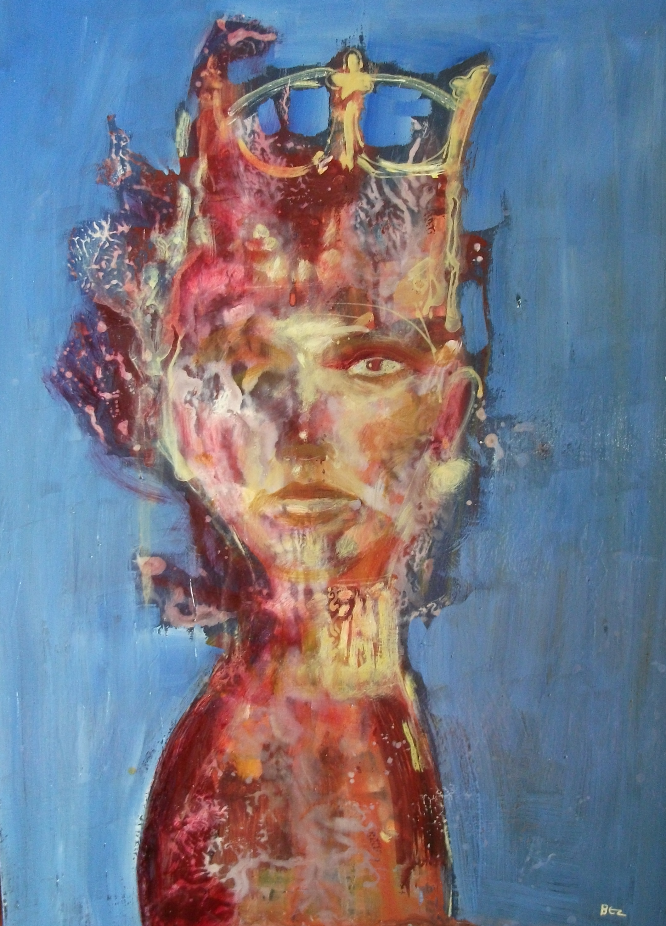 'Ossified Queen' ,  Code no. TP211   Acrylics & Mixed Media on Paper with Oil Glazing,