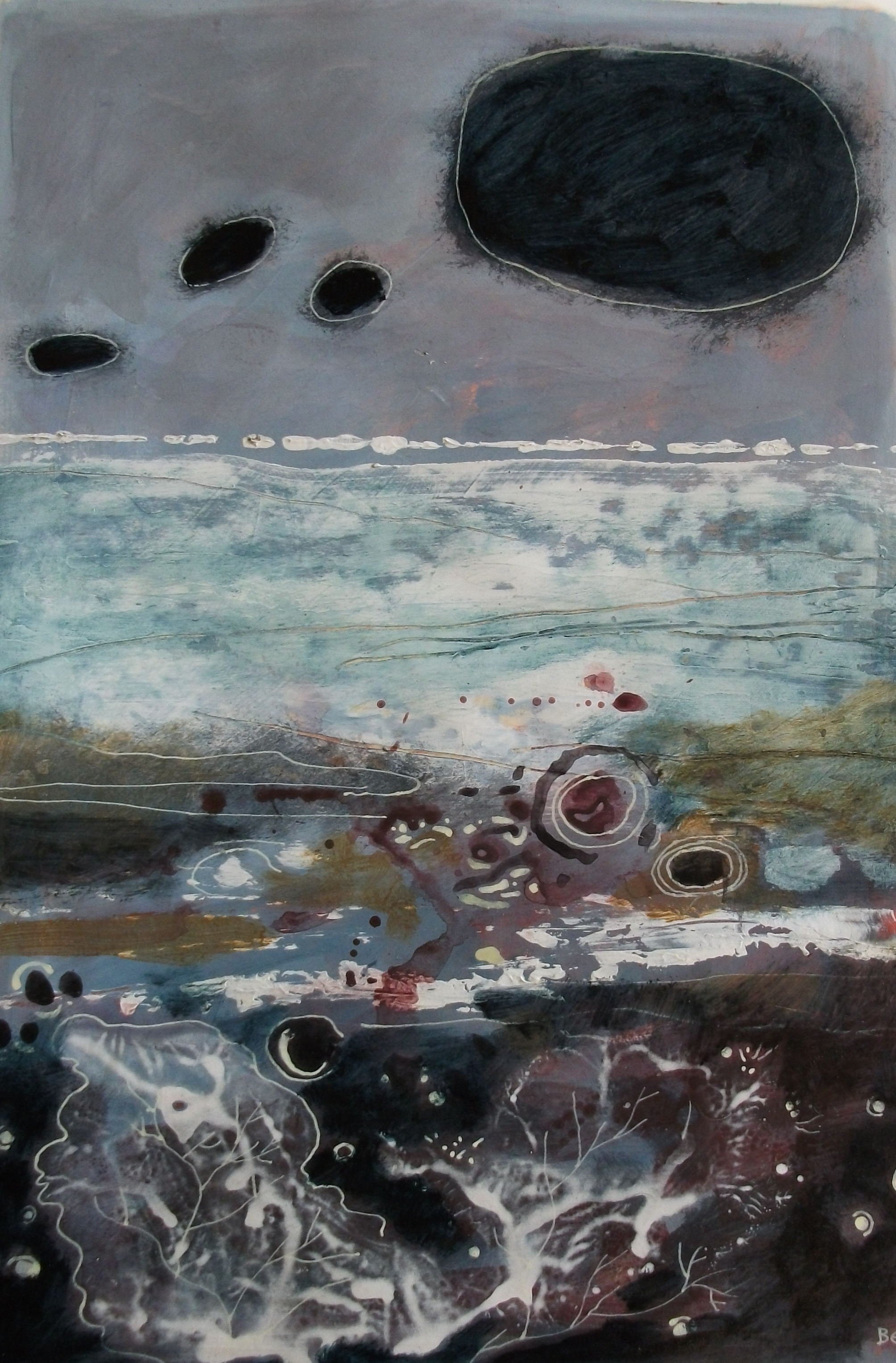 """'Coast' ,  Code no. 1086   Acrylics & Mixed Media on Paper with Oil Glazing, 18"""" x 12"""""""