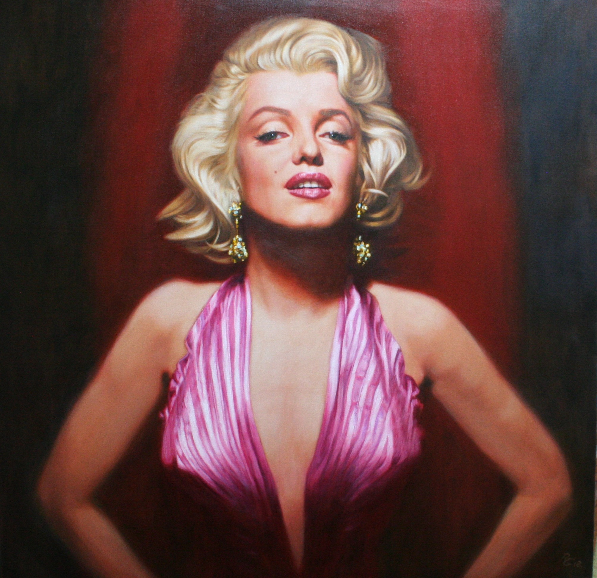 "'Marilyn, Femme Fatale'    Original Work now Sold.  Available as a Limited Edition Print on Canvas. Hand signed and numbered by the artist. 40"" x 40"""