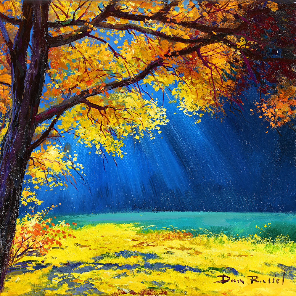 "'Autumn Light'   Limited Edition Giclee Print on Board Mounted Canvas, 12"" x 12"""
