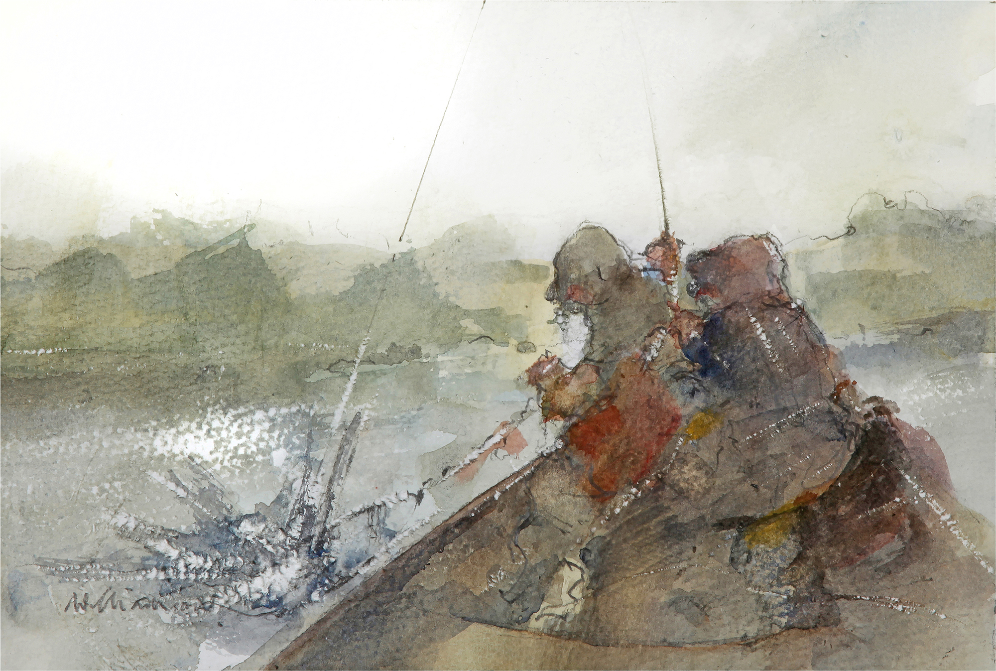 'Off The Boat'    Original Watercolour Work  Also Available as a Limited Edition Giclee Print on Fine Art Paper