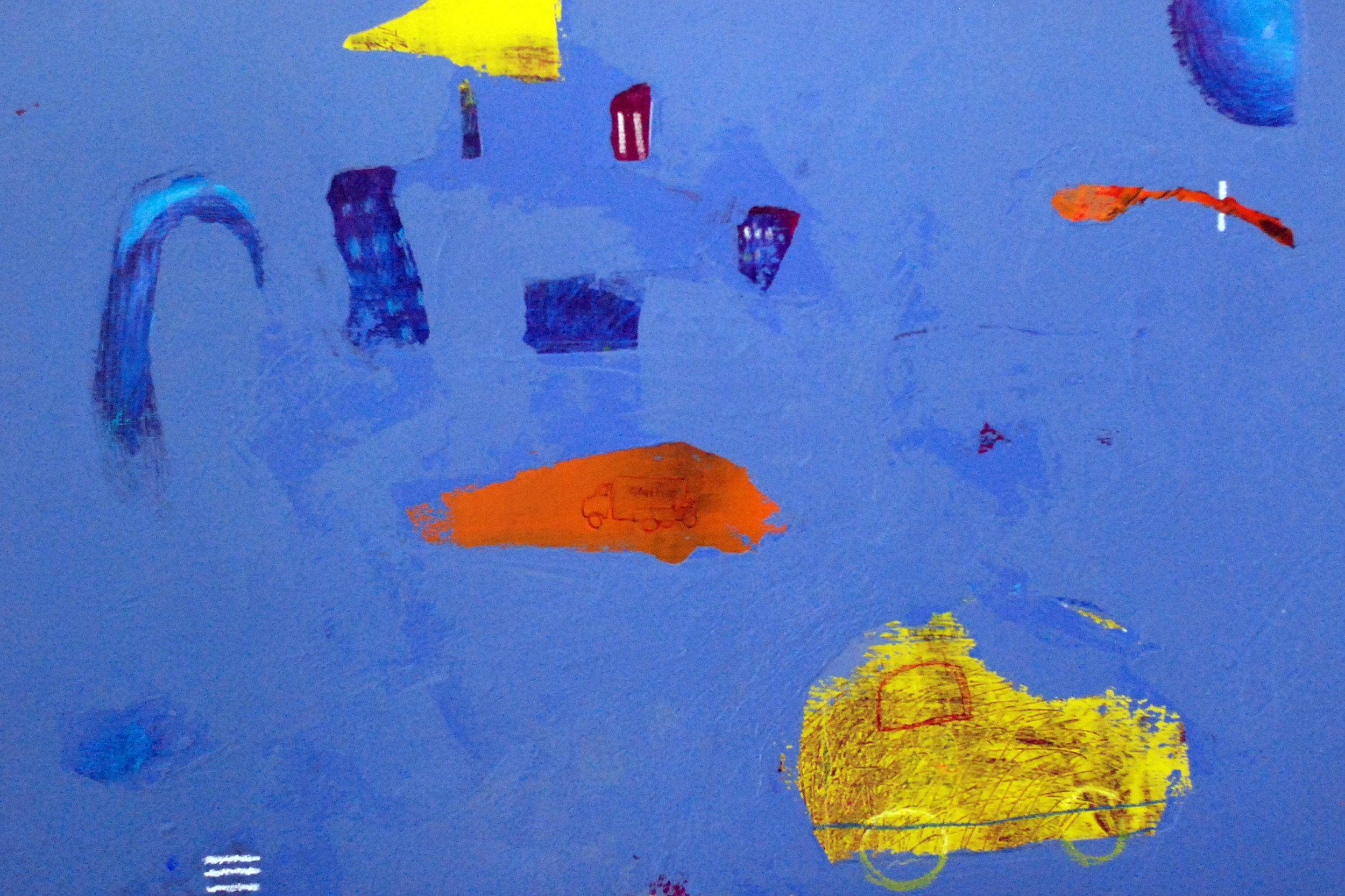 "'Yellow Car, Big City'    Acrylic & Mixed Media on Board, 19"" x 27"""