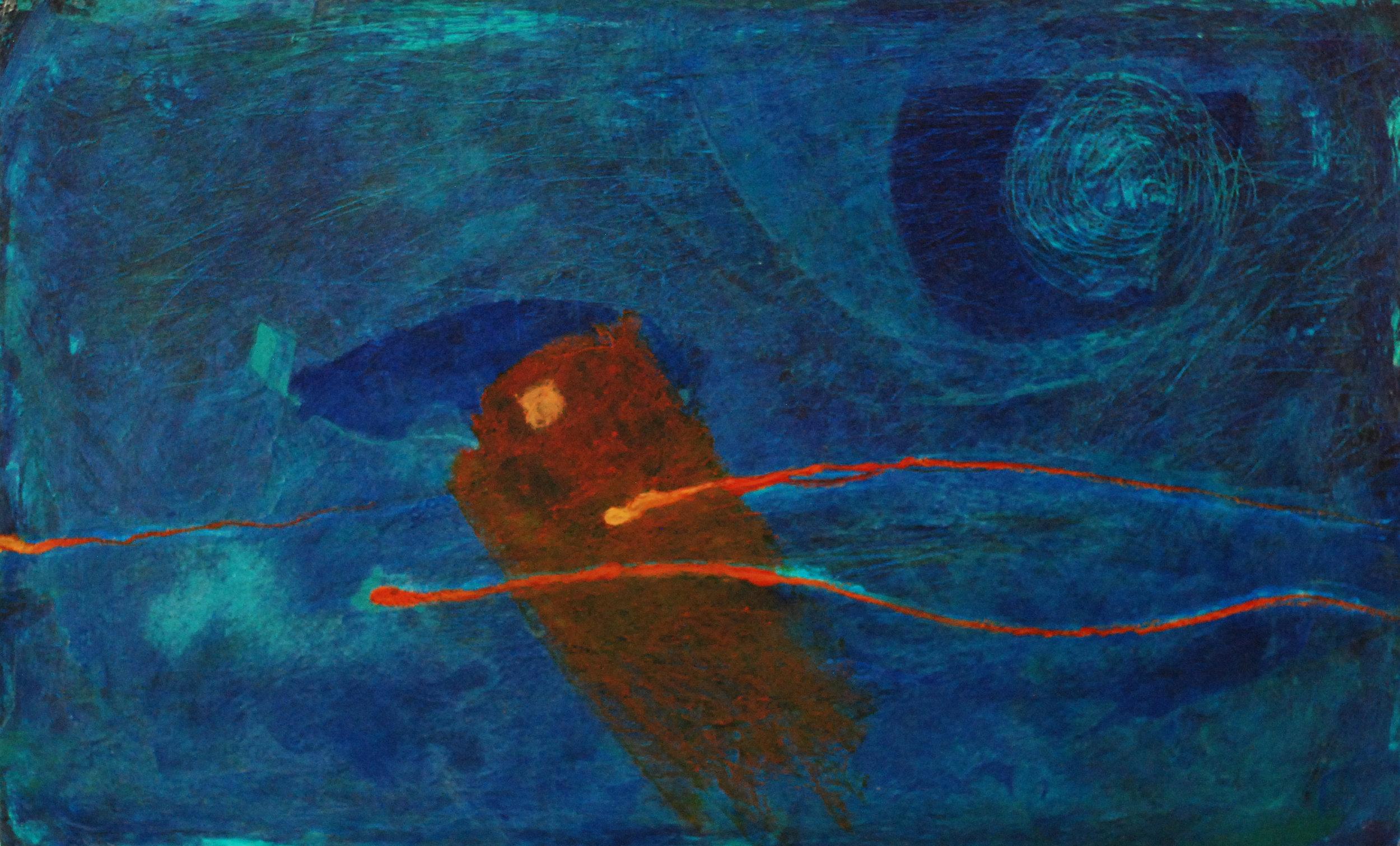 "'Sea Creature & The Kite'    Acrylic & Mixed Media on Board, 12"" x 20"""