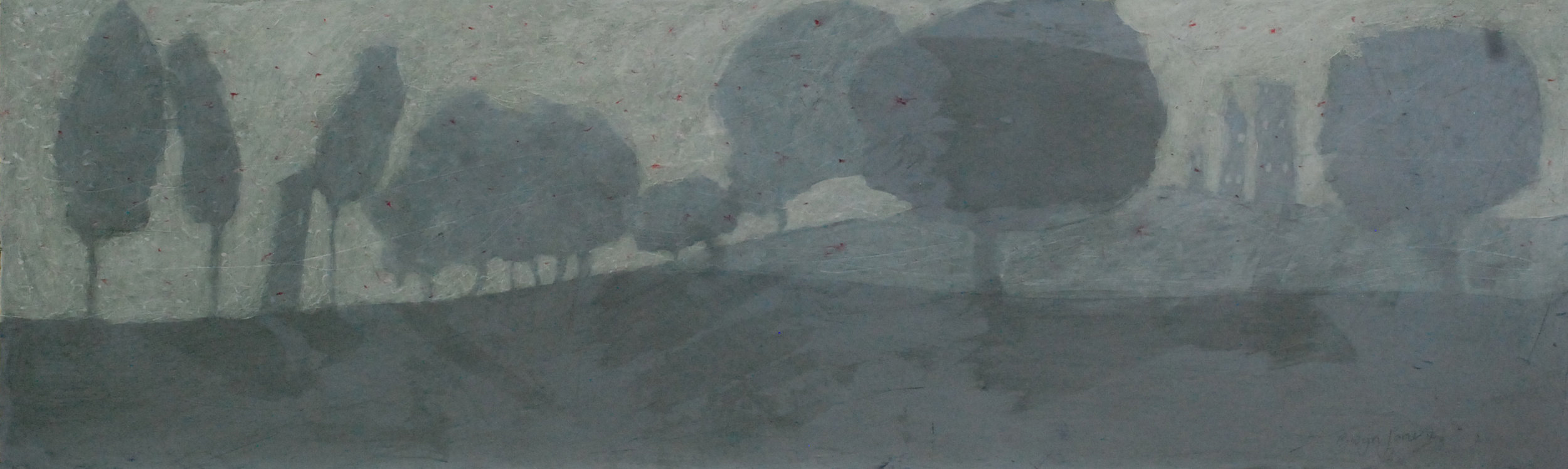 """'Found Amongst the Trees'    Acrylic & Mixed Media on Board, 8"""" x 26"""""""