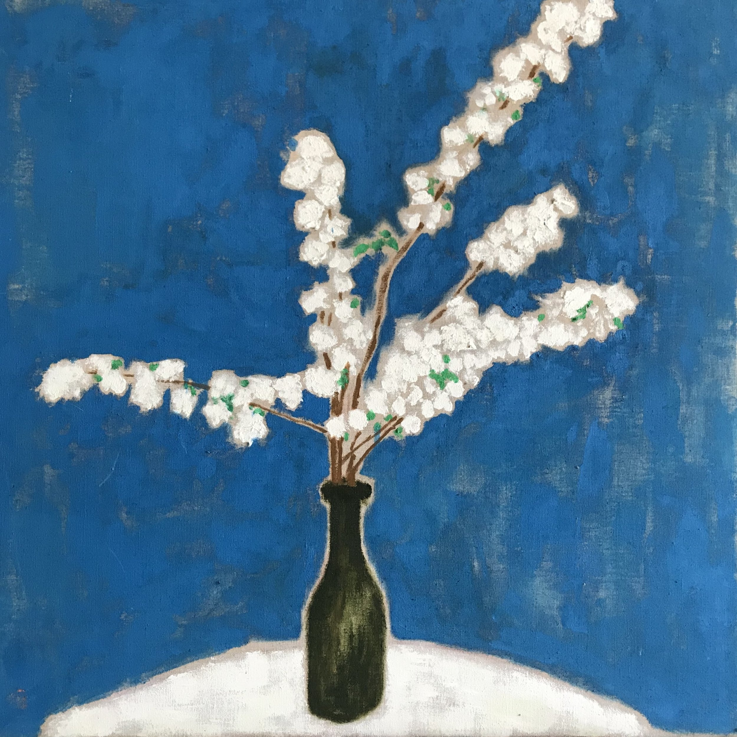 "'Full Bloom in Green Bottle'    Original Oil Work on Linen, 30"" x 30"""