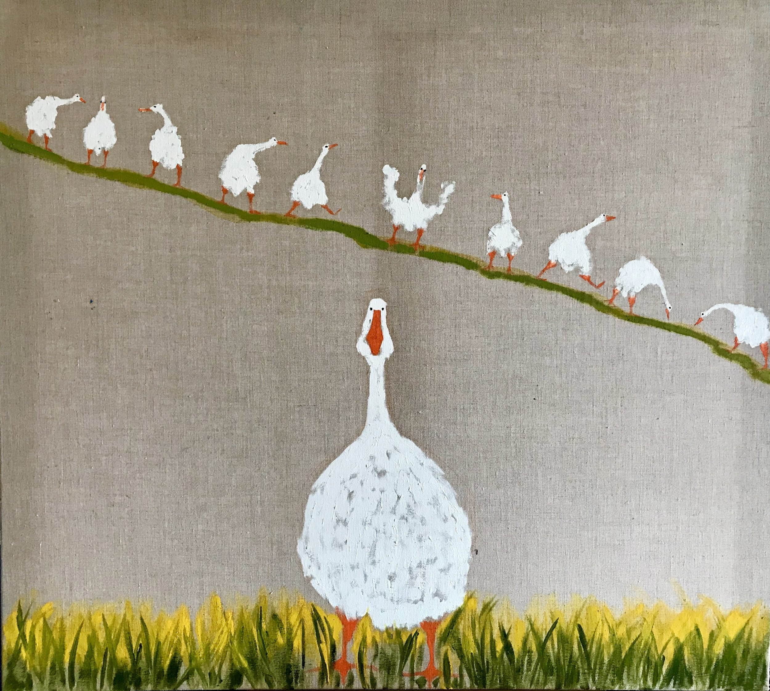 "'Geese on the Green'    Original Oil Work on Linen, 36"" x 40"""