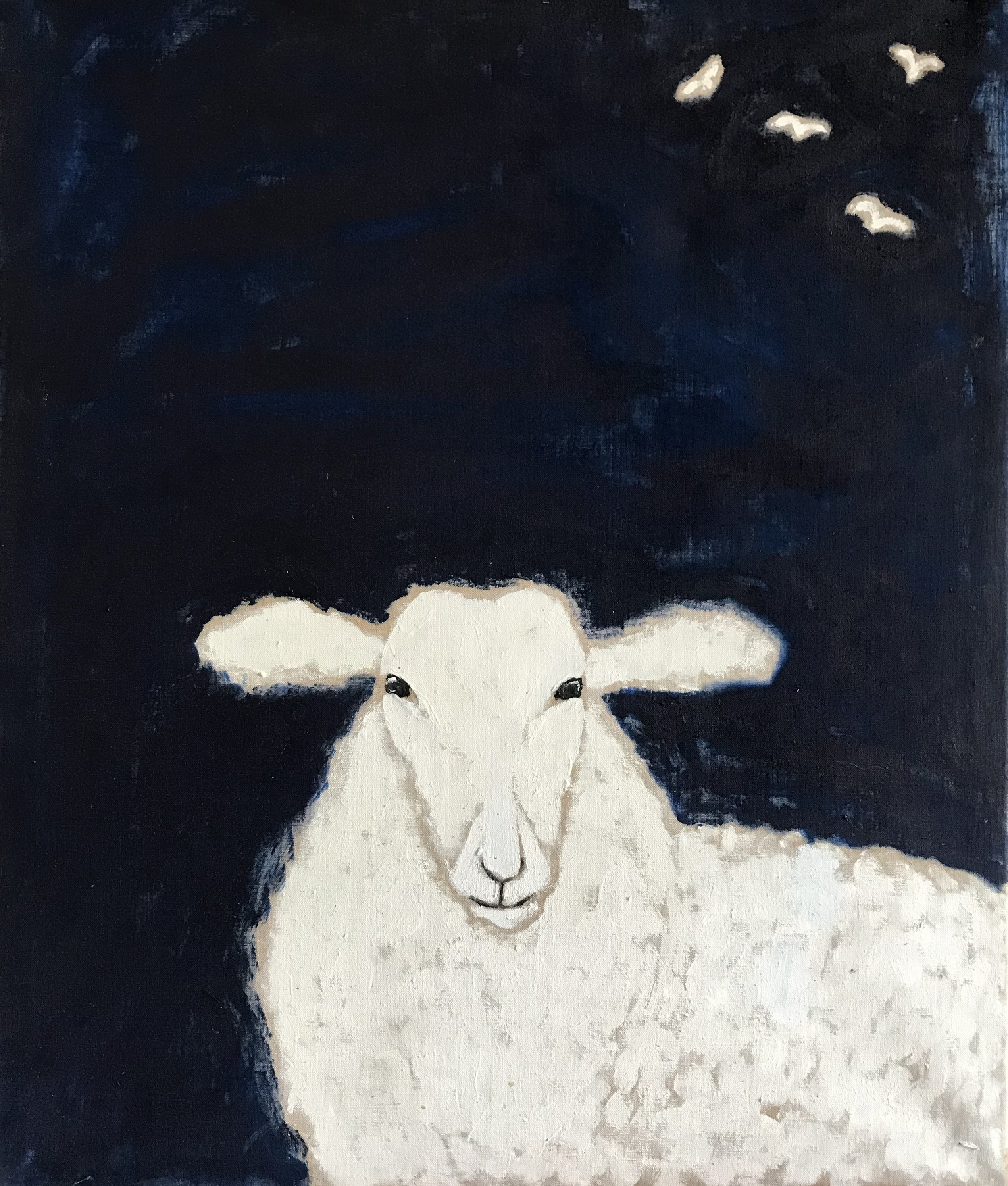 "'Sheep in Dark Night'    Original Oil Work on Linen, 30"" x 25"""