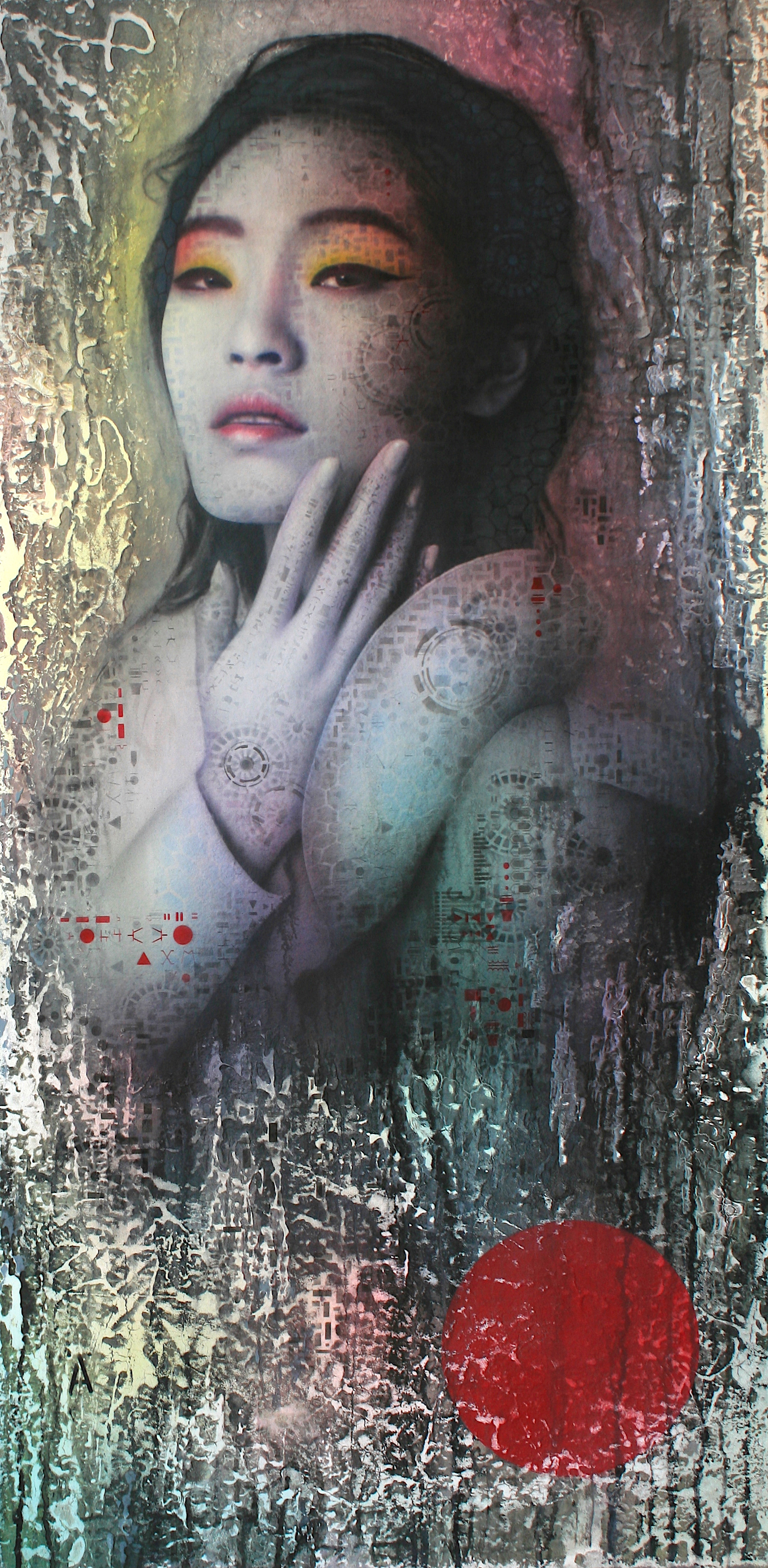 "'Maaya (True Design) ,      Original Mixed Media Work on Canvas  , 40"" x 21""'"