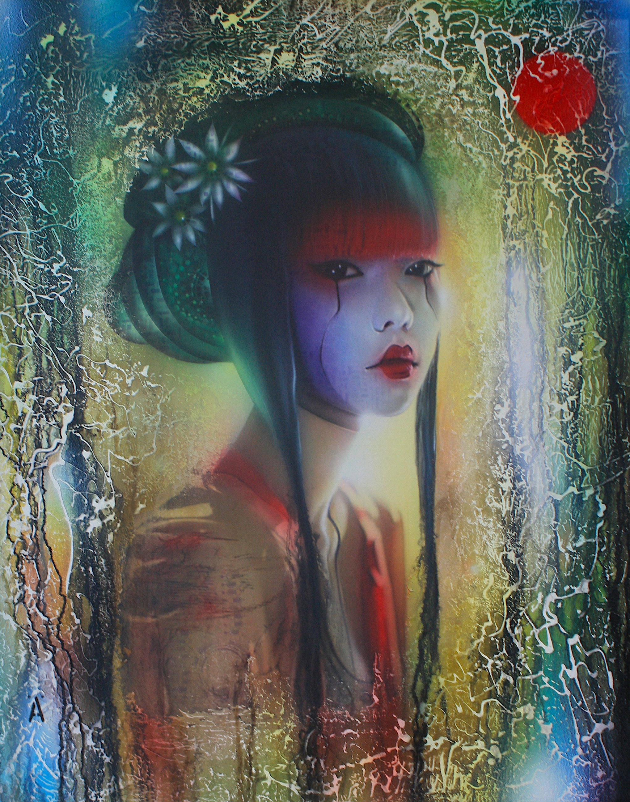"'Geisha Girl' ,      Original Mixed Media Work on Canvas  , 40"" x 30""'"