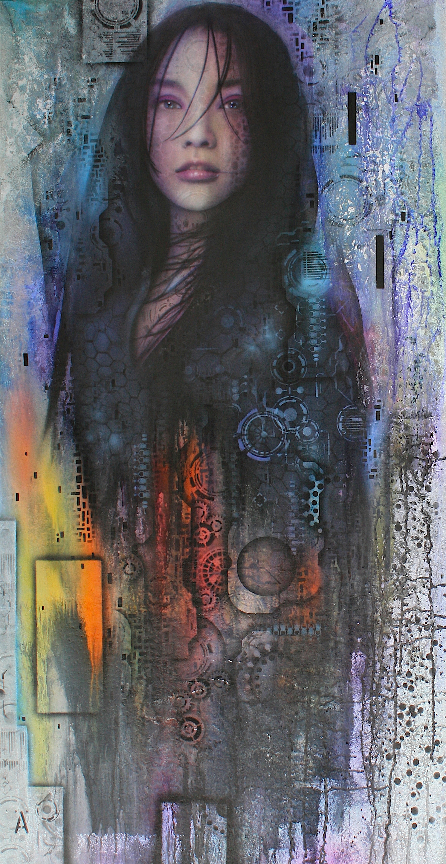 "'Made in Bangkok' ,      Original Mixed Media Work on Canvas  , 40"" x 21""'"