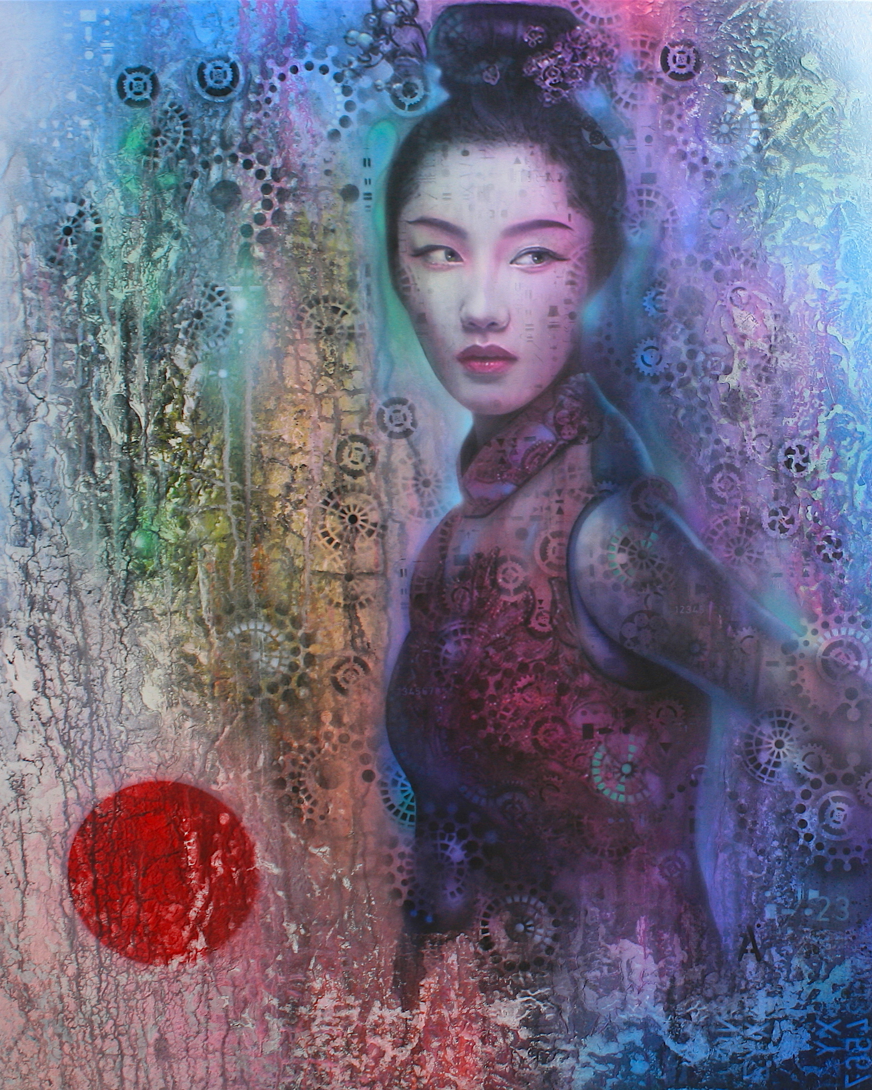 "'Maiko' ,      Original Mixed Media Work on Canvas  , 40"" x 20""'"