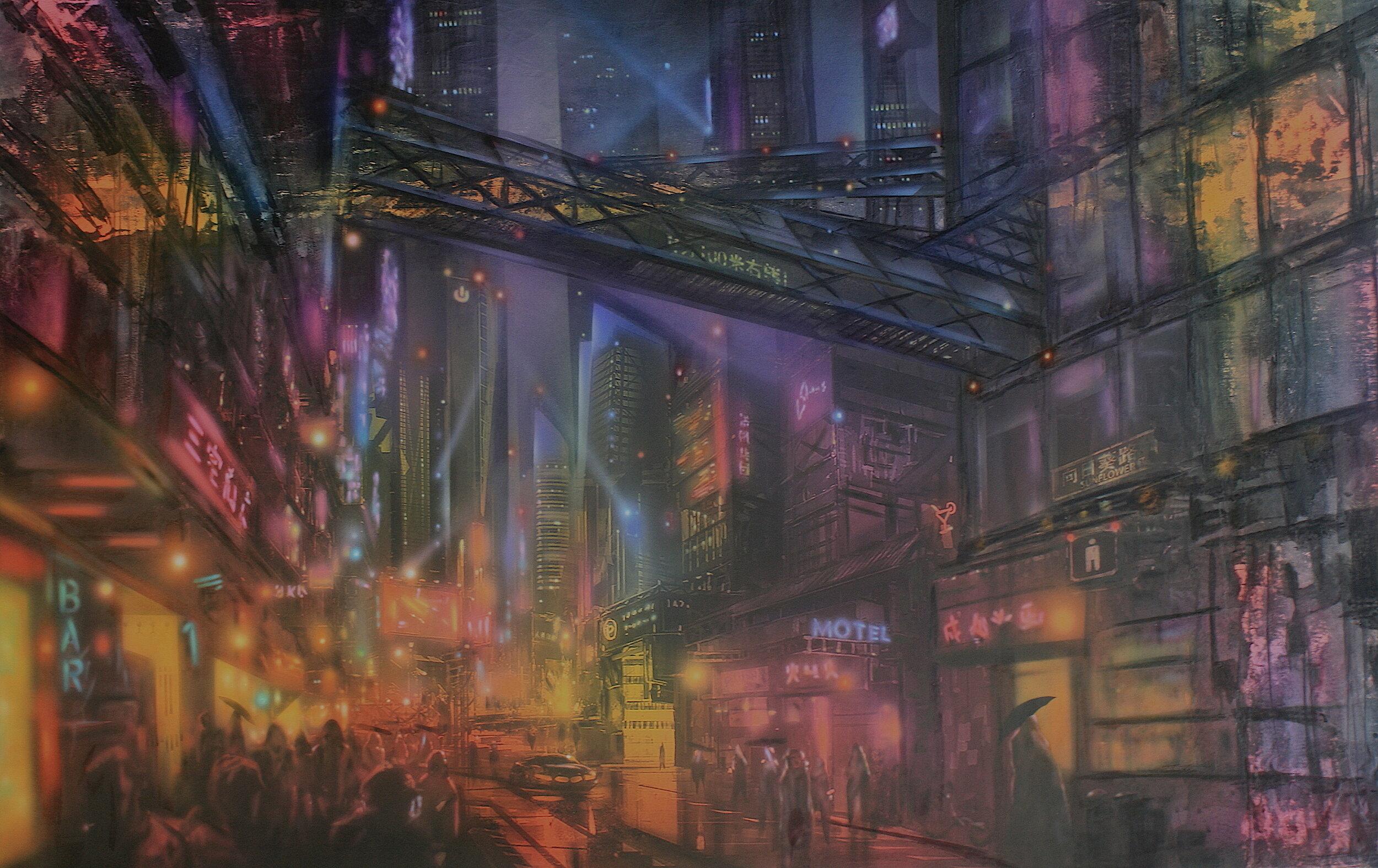 'Sin City'      Original Mixed Media Work on Board  , 80 cm x 98 cm