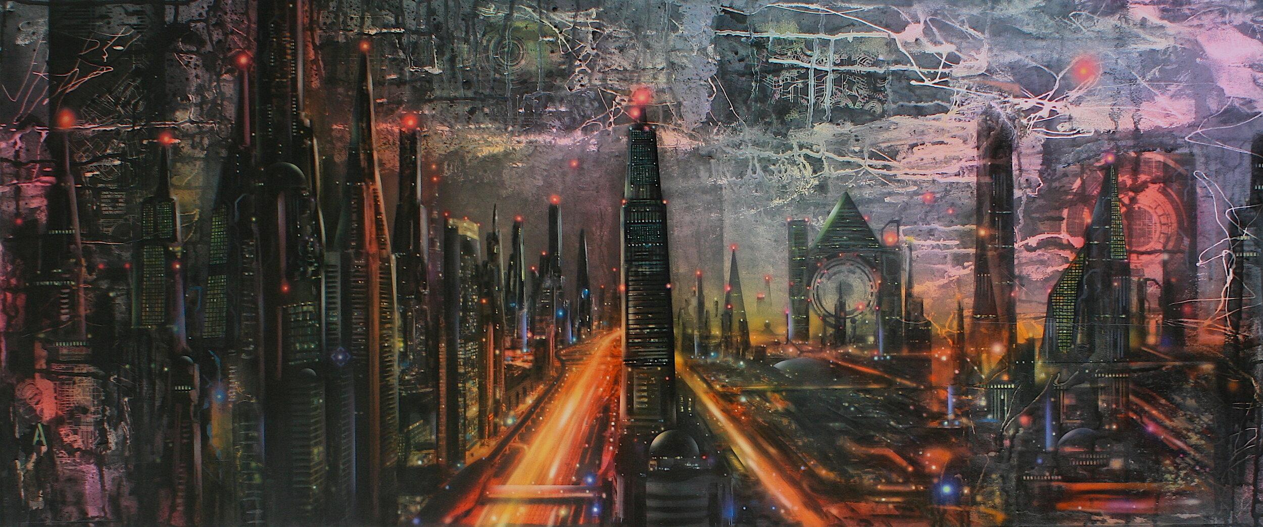 'Break of Dawn'      Original Mixed Media Work on Board  , 51 cm x 122 cm