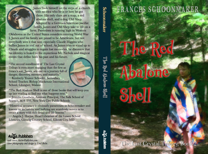 "NOW AVAILABLE!   James finds himself on the steps of a church with no idea who he is or how he got there. His only clues are a map, a red abalone shell, and a dog, Old Shep. Adopted by a German-American pacifist family, James and Old Shep take to life on a farm. Patriotism is running high in Western Oklahoma as the United States considers entering World War I. James and his family are proud to be Americans, but not everybody sees it that way, especially Claude Higgins who bullies James in and out of school. As James tries to stand up to Claude and struggles to regain lost memories, he discovers that his identity is linked to mysterious, magical events that define both his past and his future.    BEHIND THE SCENES WITH COVER DESIGN   Liesl came up with several designs for Book 2. But this is the one that kids we ran it past liked the most. Amelia summarized it very well, ""It captures a pivotal moment in the book and it raises questions about what is happening."" How come the boy is wearing an Indian blanket? Has he been for a swim? Who is he? I'll give that last bit away. He is James Matthias and he has been in the water. But you'll have to read the book to find out why!  Below you can see some of the steps in creating the cover. At first we thought it would be nice to have Mr. Nichols and James on the steps of the church where he is found in scene one of the book. Liesl did a great deal of research before finding a church in the country that was built in the late 1800s. But none of the pictures were at all interesting and the light wasn't right. But ice cream following the photo shoot was very interesting and satisfying. Our friend Nathaniel was a real trooper. He gave up a Saturday morning for another round of picture taking."