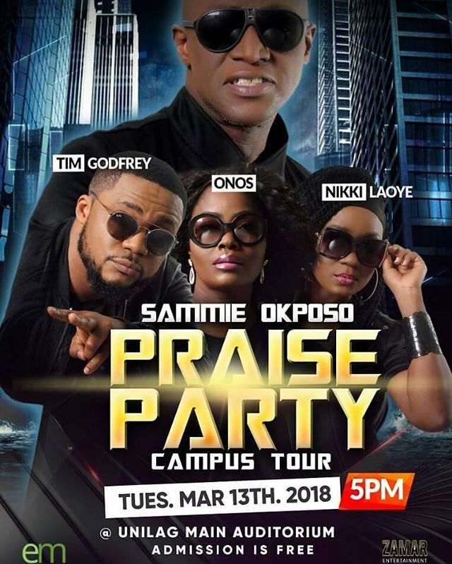 It will be a glorious one today ! Amen #Repost @sammieokposo • • • TODAY TODAY TODAY IS THE DAY THE LORD HAS MADE FOR US TO REJOICE AND BE GLAD IN IT SOPP LIVE IN UNILAG IS TODAY TUESDAY MARCH 13TH 2018 feat sammie okposo @timgodfreyworld @nikkilaoye @onosariyo  VENUE IS UNILAG MAIN AUDITORIUM TIME IS 5PM ADMISSION IS FREE DONT LET THIS ONE PASS YOU BY SPREAD THE WORD #thisisarighteousrevolution  #thisisaheavenlyinvasion