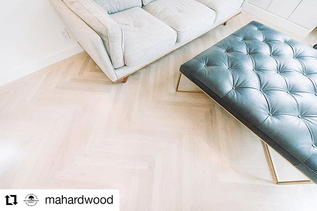 "#Repost @mahardwood • • • • • • 2-1/4""x24""  Select plain sawn white oak herringbone from Saroyan. Beautiful install, sand, finish and stain by MA Hardwood."