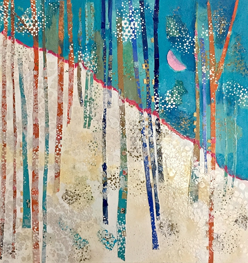 - Blue Grove with Pink Moon (30x30) $1200