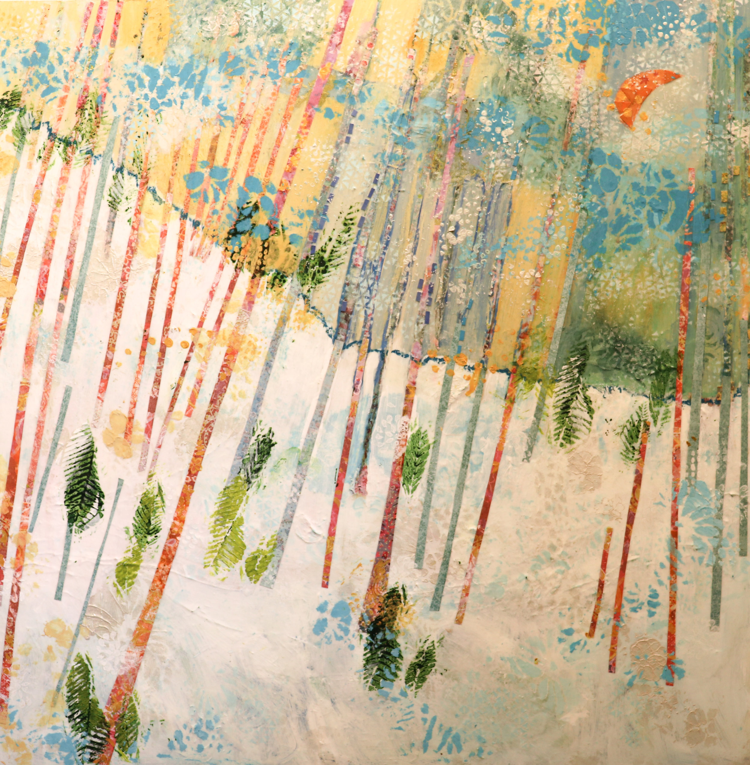 - Tangerine Moon w/Teal Line (36x36) $3200