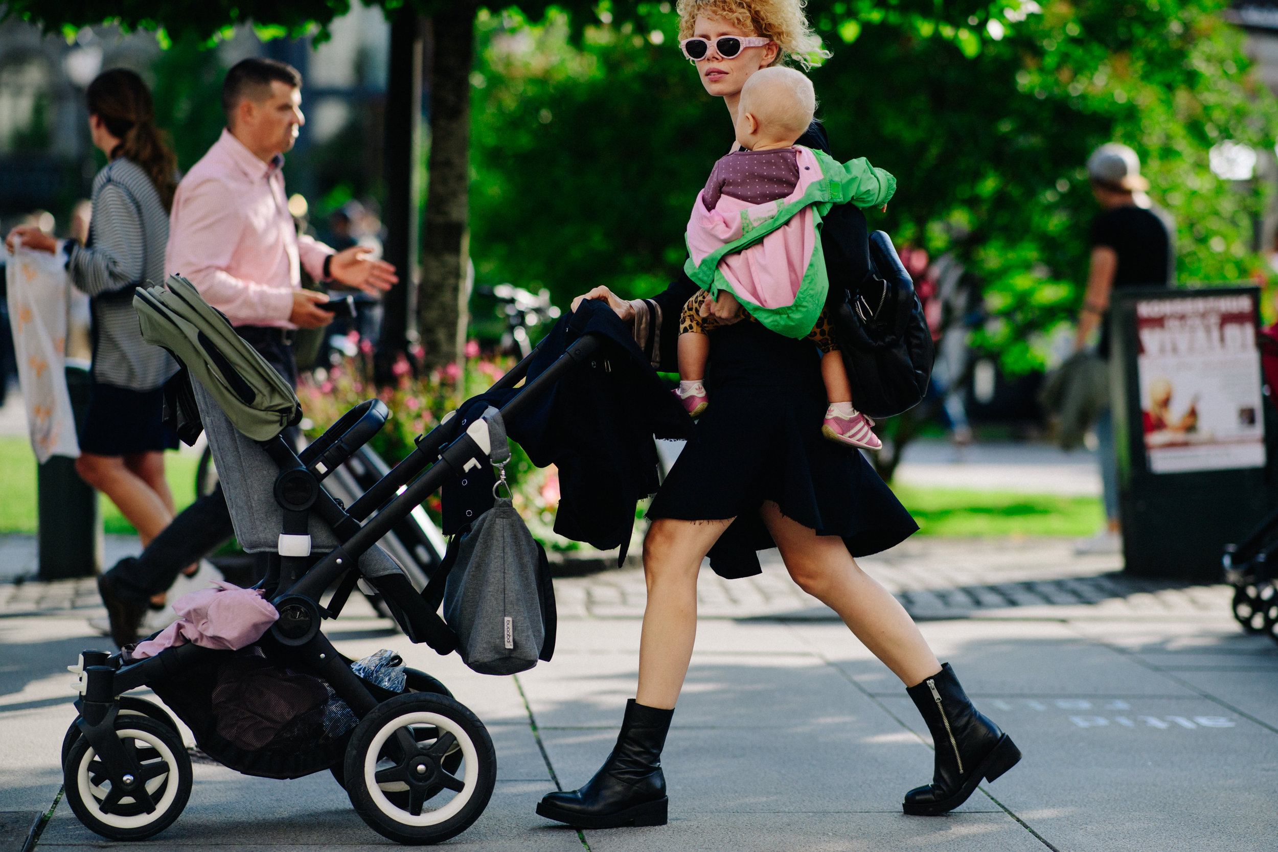 Photo by Adam Katz Sinding for W Magazine.   Wearing H&M and a Bugaboo stroller