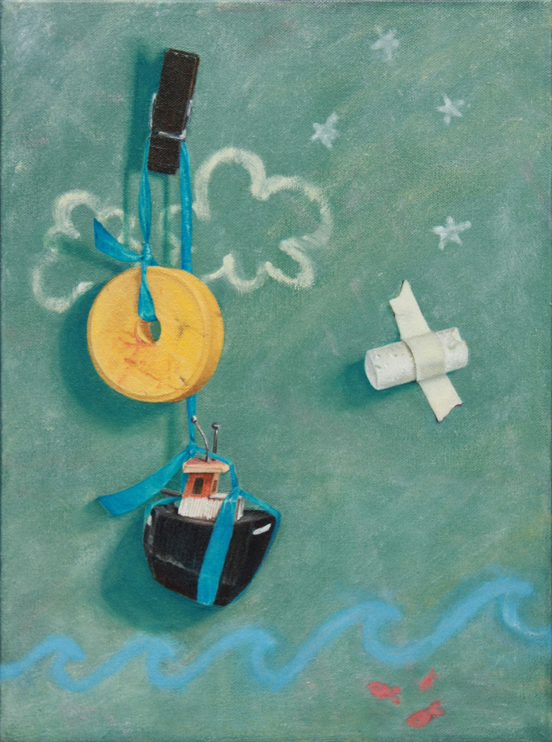 Counting Game . Oil on canvas. 12 x 16 inches.  $600  Plunged into our children's world, we count stars, chalk, toys, and . . . sometimes we just count the days out at sea.