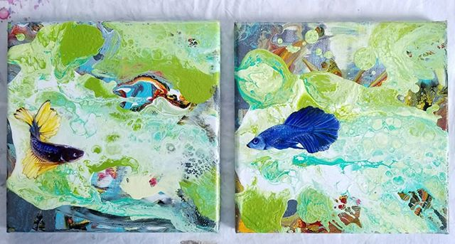 Following up with the complete diptych.  8x8 inches each canvas, oil on resin, over acrylic pour.  #bettafishgallery #acrylicpour #figurativepainting #oilonacrylic #contemporaryartwork #diptych #mixedmediaart #311art