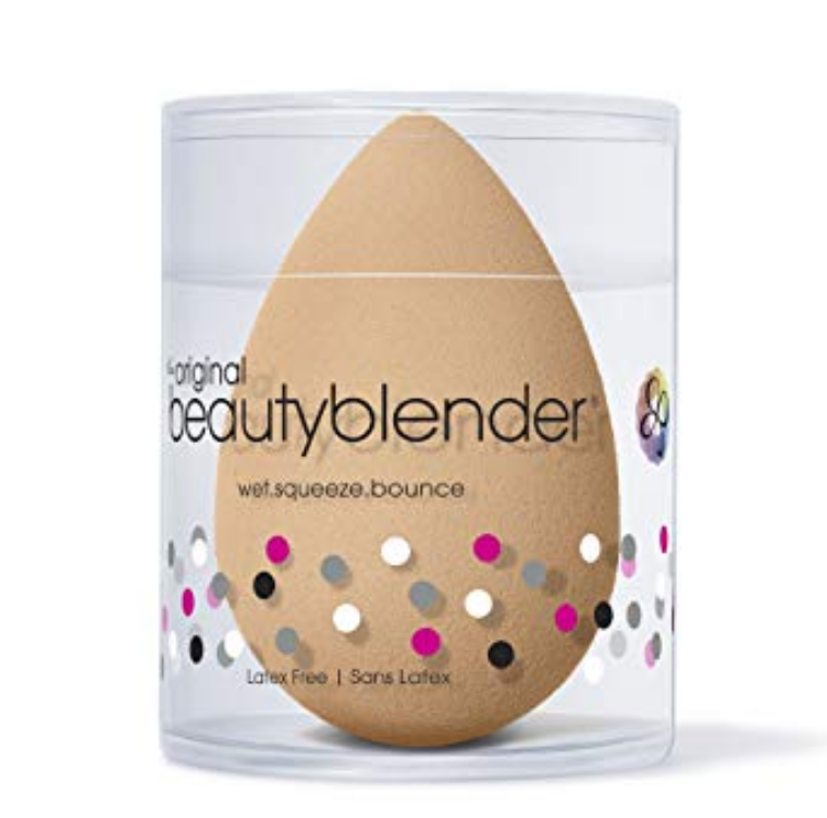 Beauty Blender  - submerge it in water. squeeze a few times, take it out of water and squeeze excess water off. Apply foundation by bouncing the beauty blender on skin to apply product.