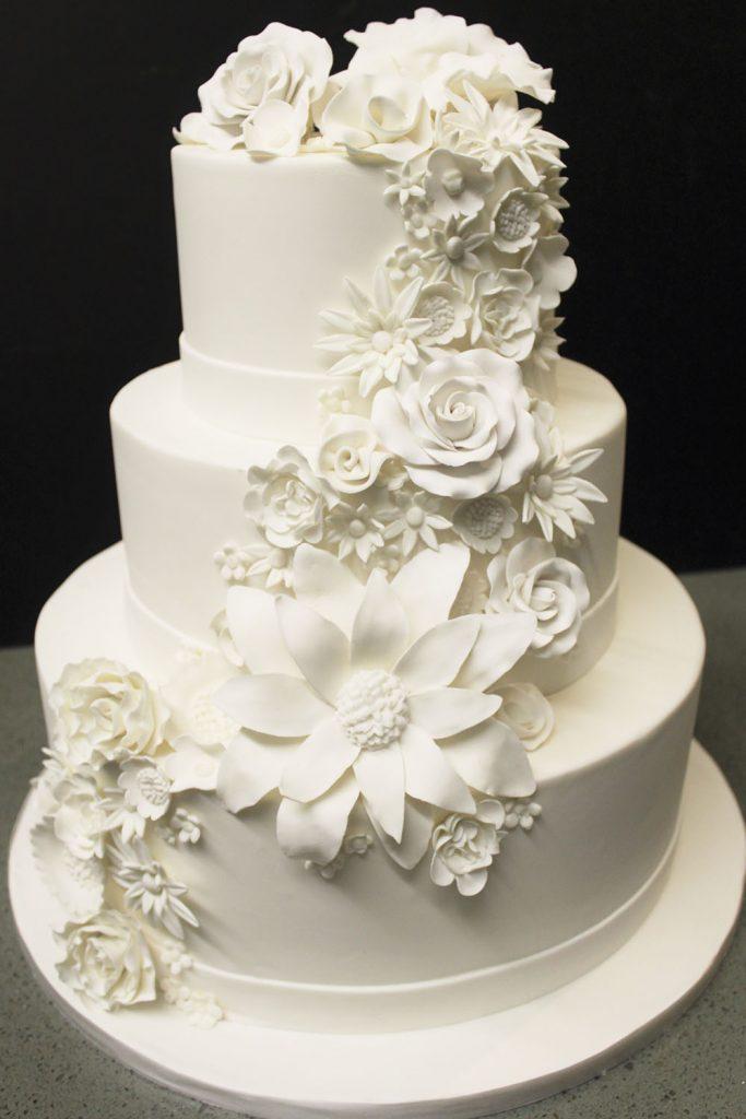 All White Cascade Wedding Cake