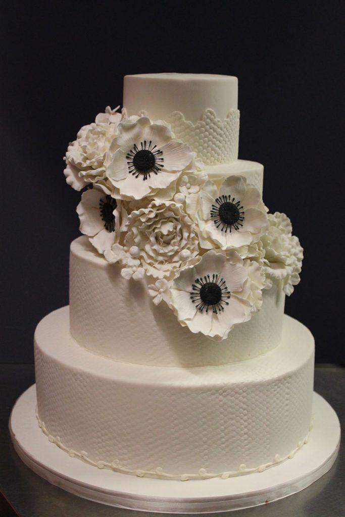 Black & White Anemone Wedding Cake